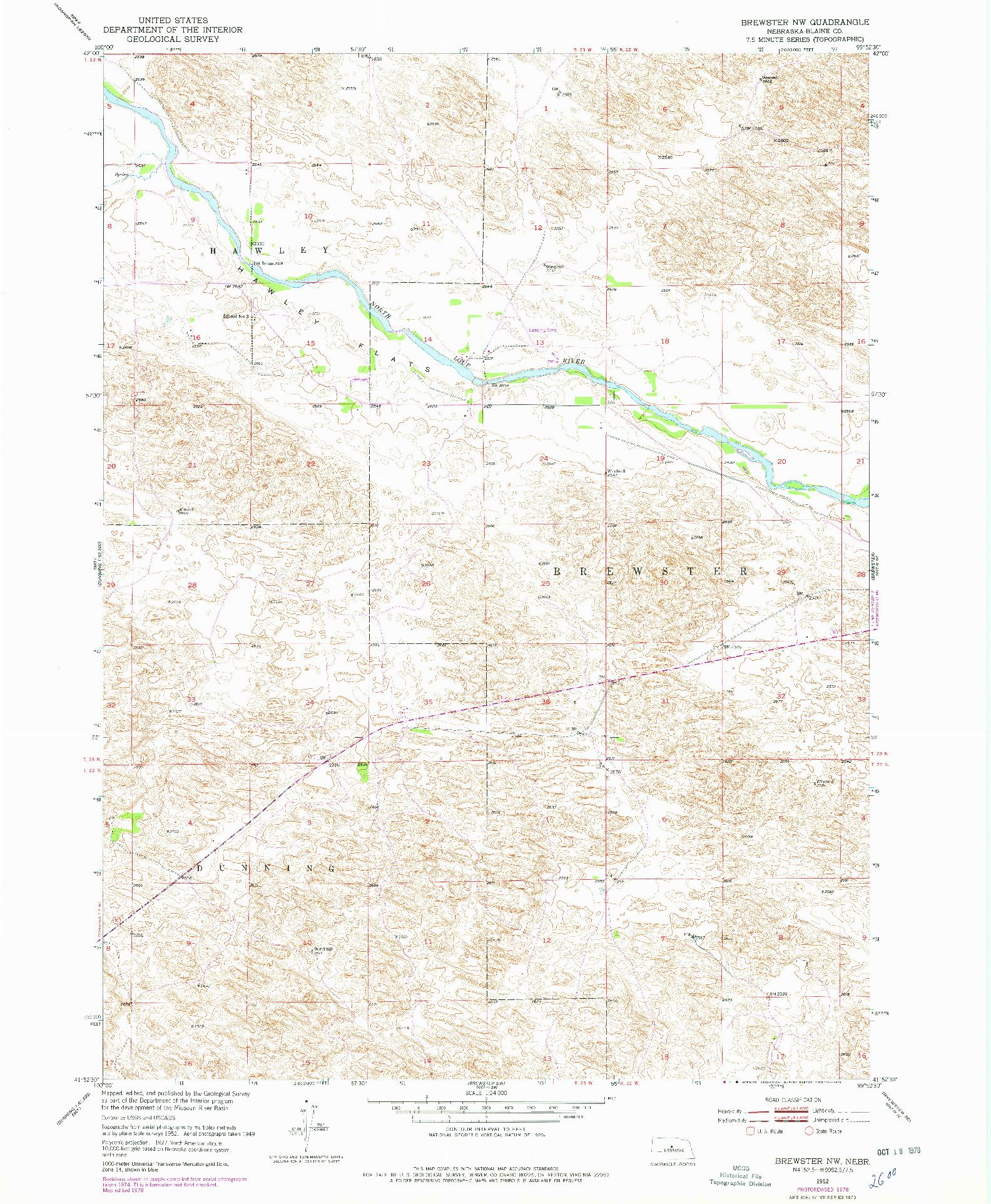 USGS 1:24000-SCALE QUADRANGLE FOR BREWSTER NW, NE 1952