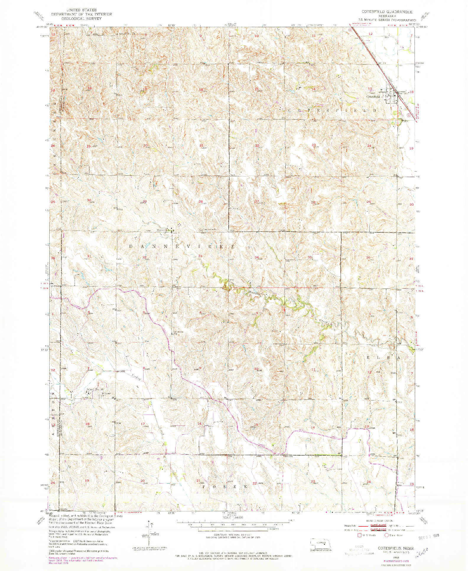 USGS 1:24000-SCALE QUADRANGLE FOR COTESFIELD, NE 1953