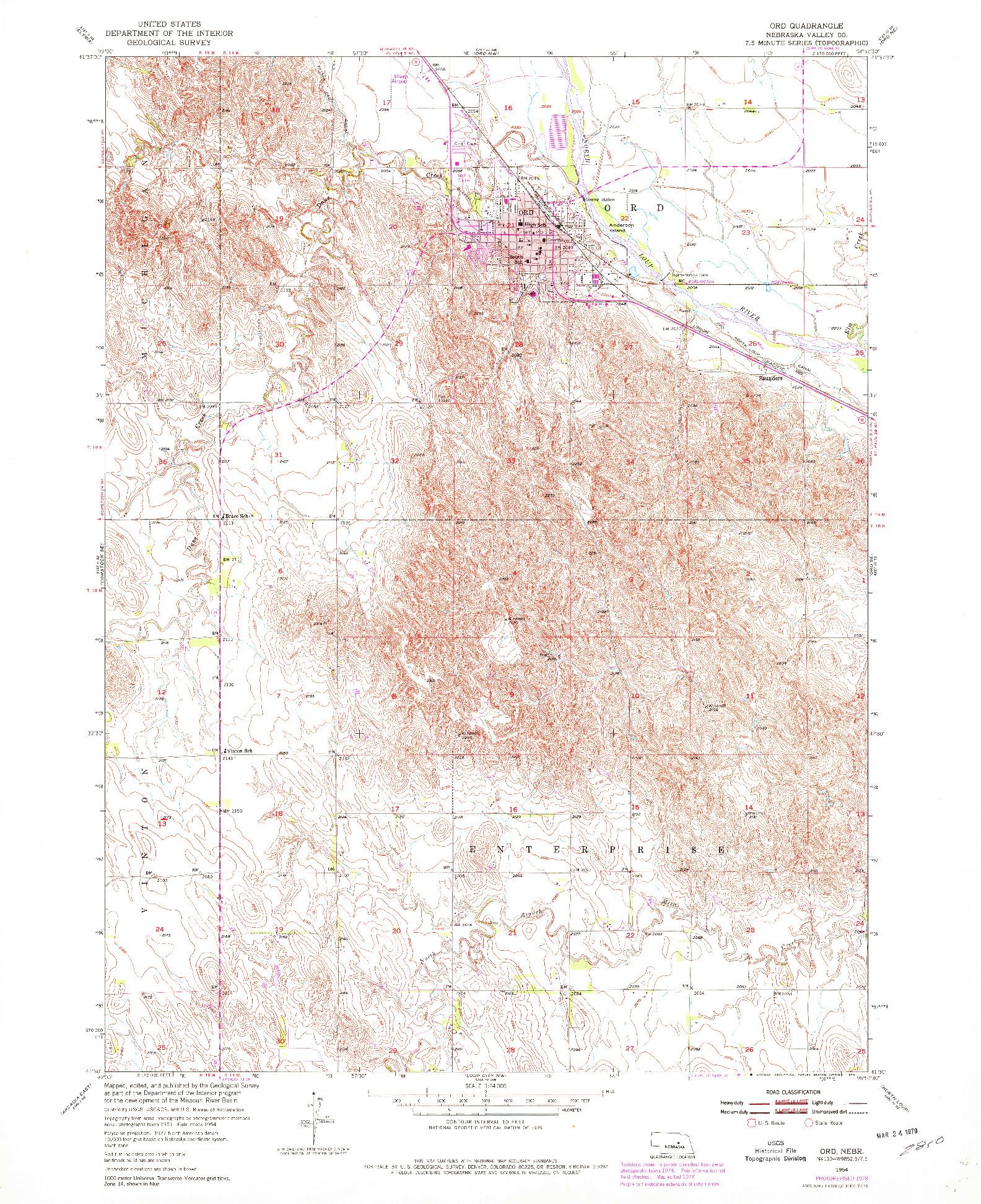 USGS 1:24000-SCALE QUADRANGLE FOR ORD, NE 1954