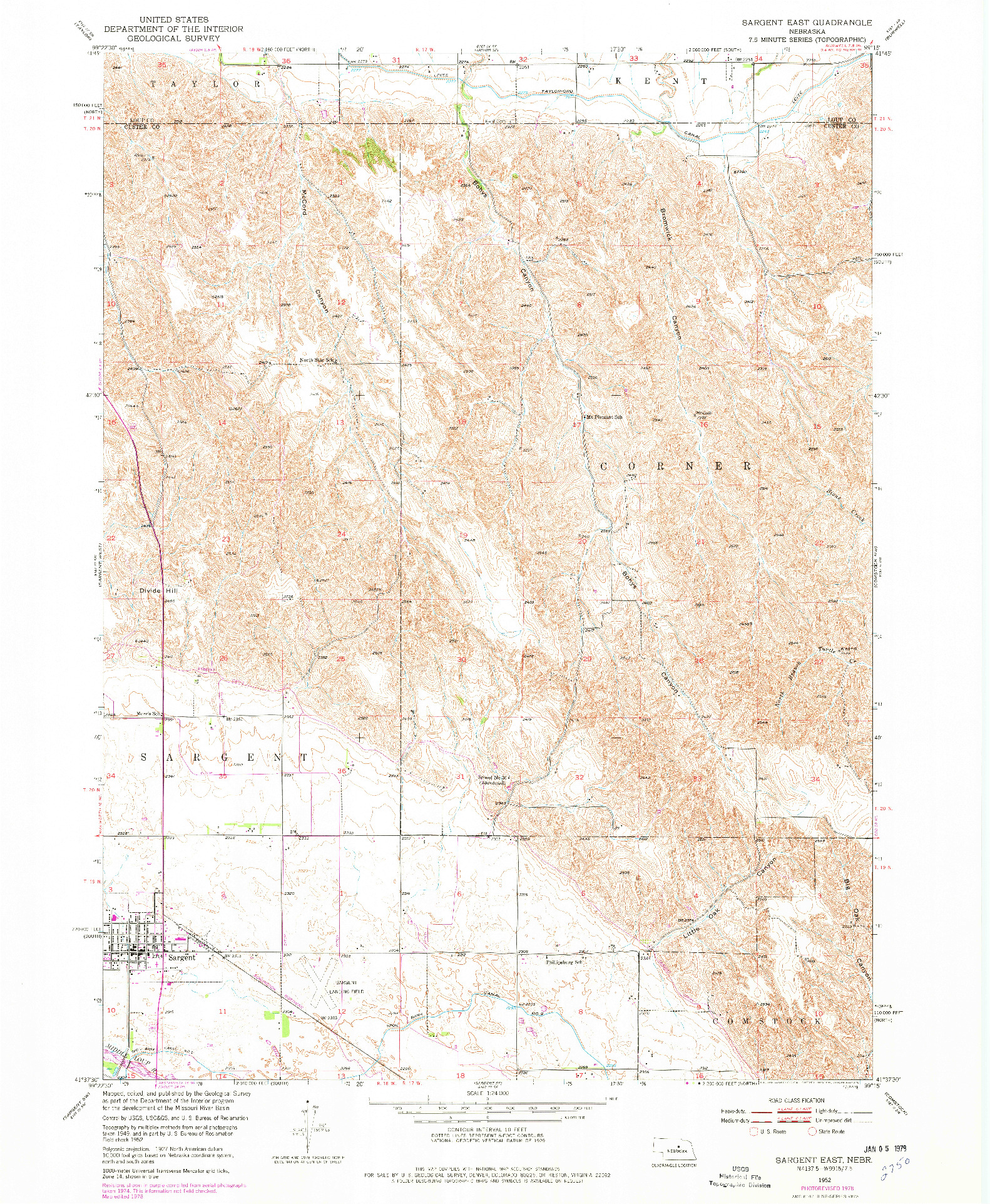 USGS 1:24000-SCALE QUADRANGLE FOR SARGENT EAST, NE 1952