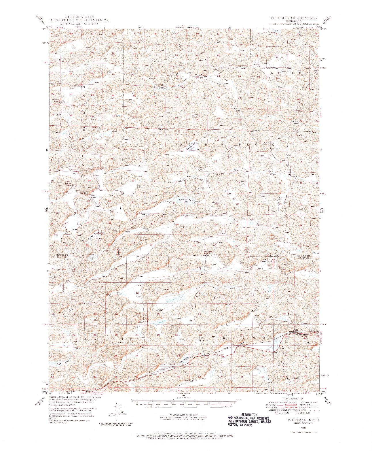 USGS 1:62500-SCALE QUADRANGLE FOR WHITMAN, NE 1948