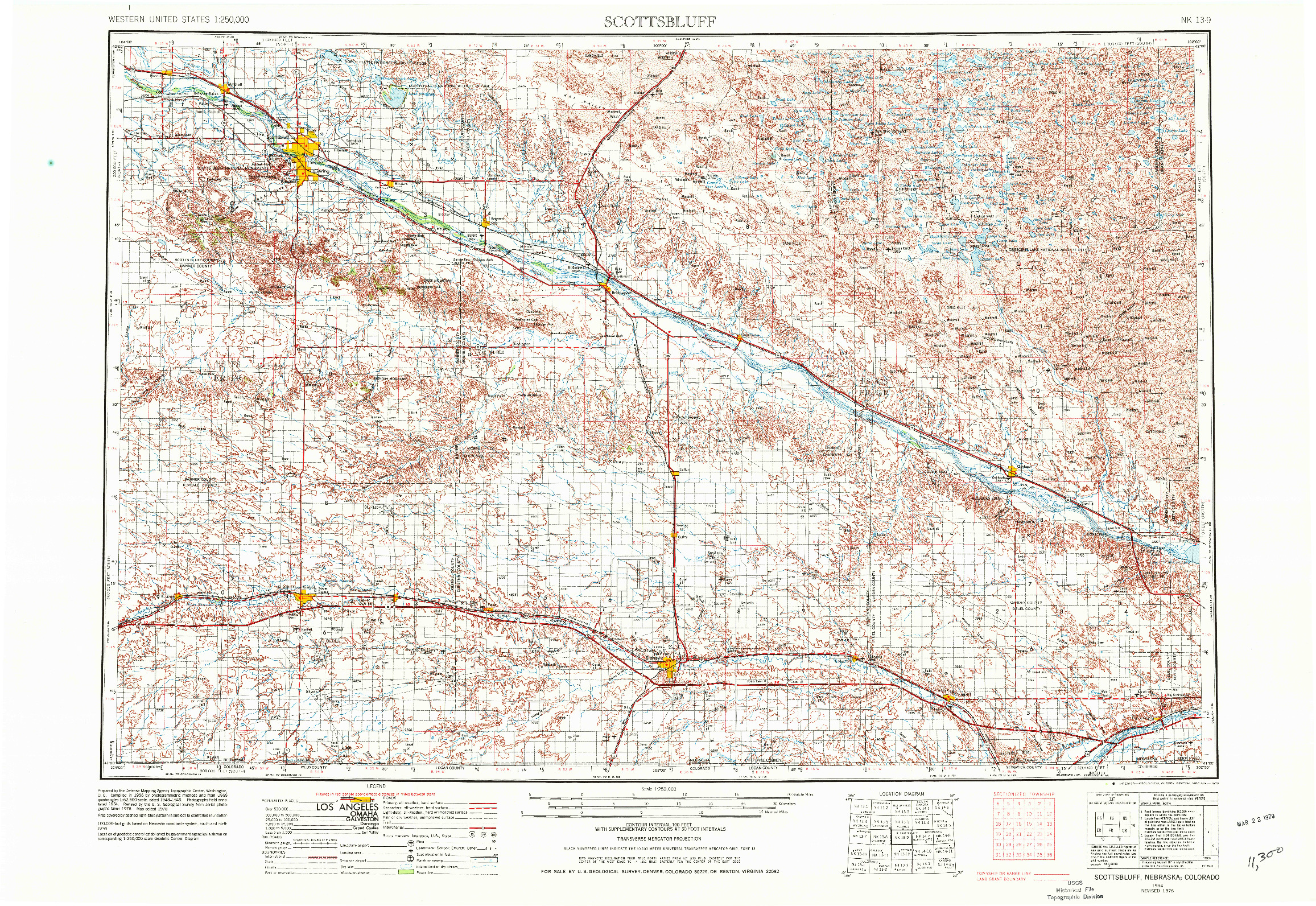 USGS 1:250000-SCALE QUADRANGLE FOR SCOTTSBLUFF, NE 1954