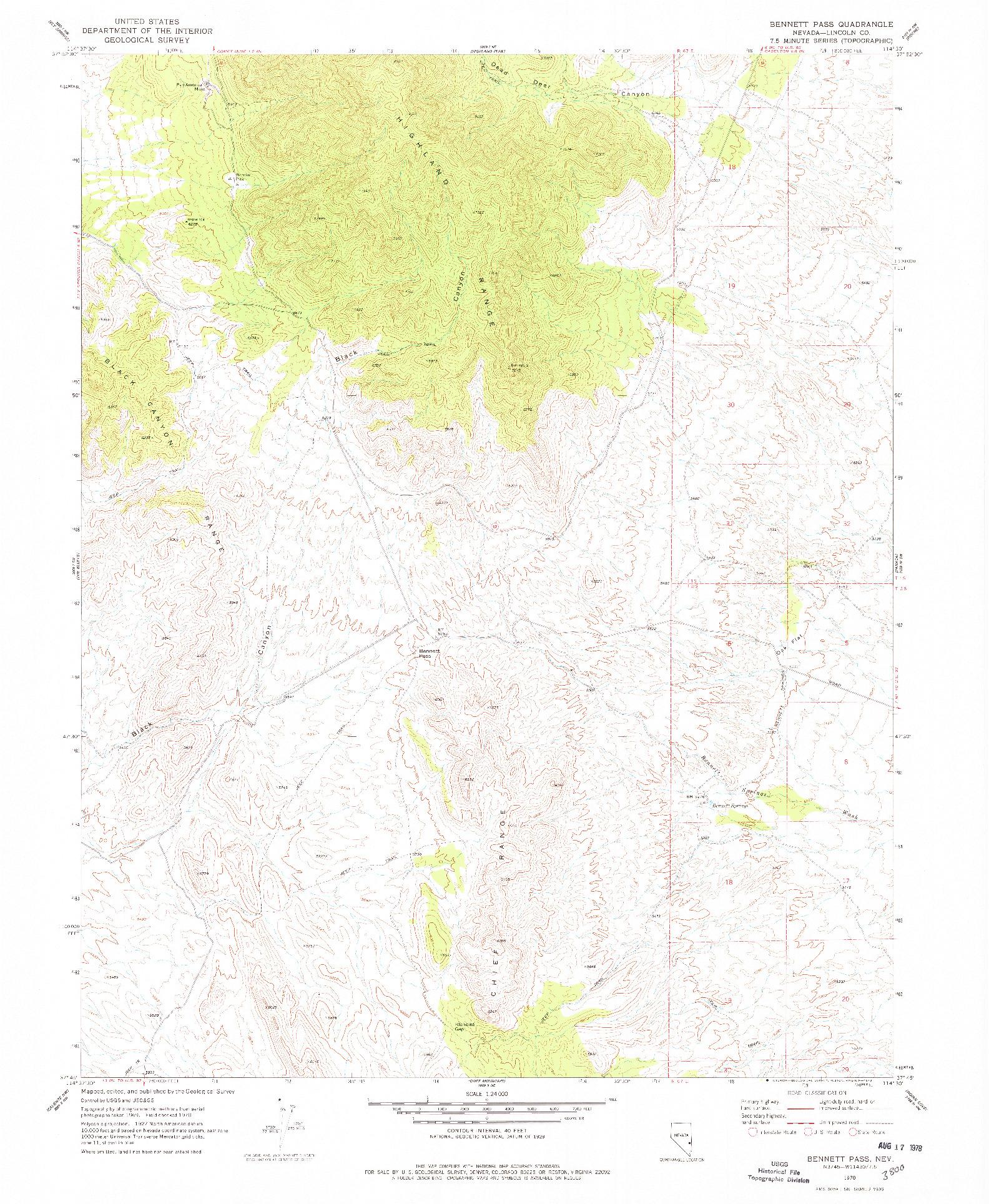 USGS 1:24000-SCALE QUADRANGLE FOR BENNETT PASS, NV 1970