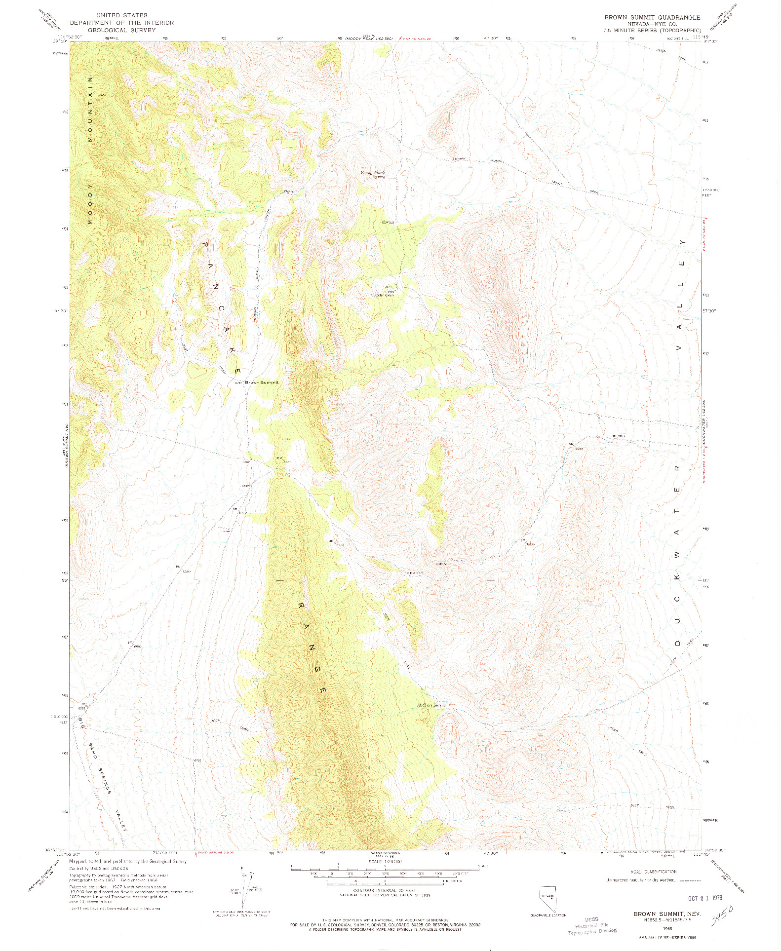 USGS 1:24000-SCALE QUADRANGLE FOR BROWN SUMMIT, NV 1968