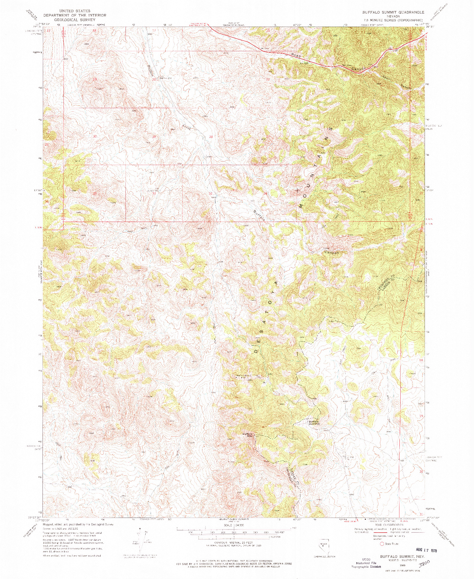 USGS 1:24000-SCALE QUADRANGLE FOR BUFFALO SUMMIT, NV 1969