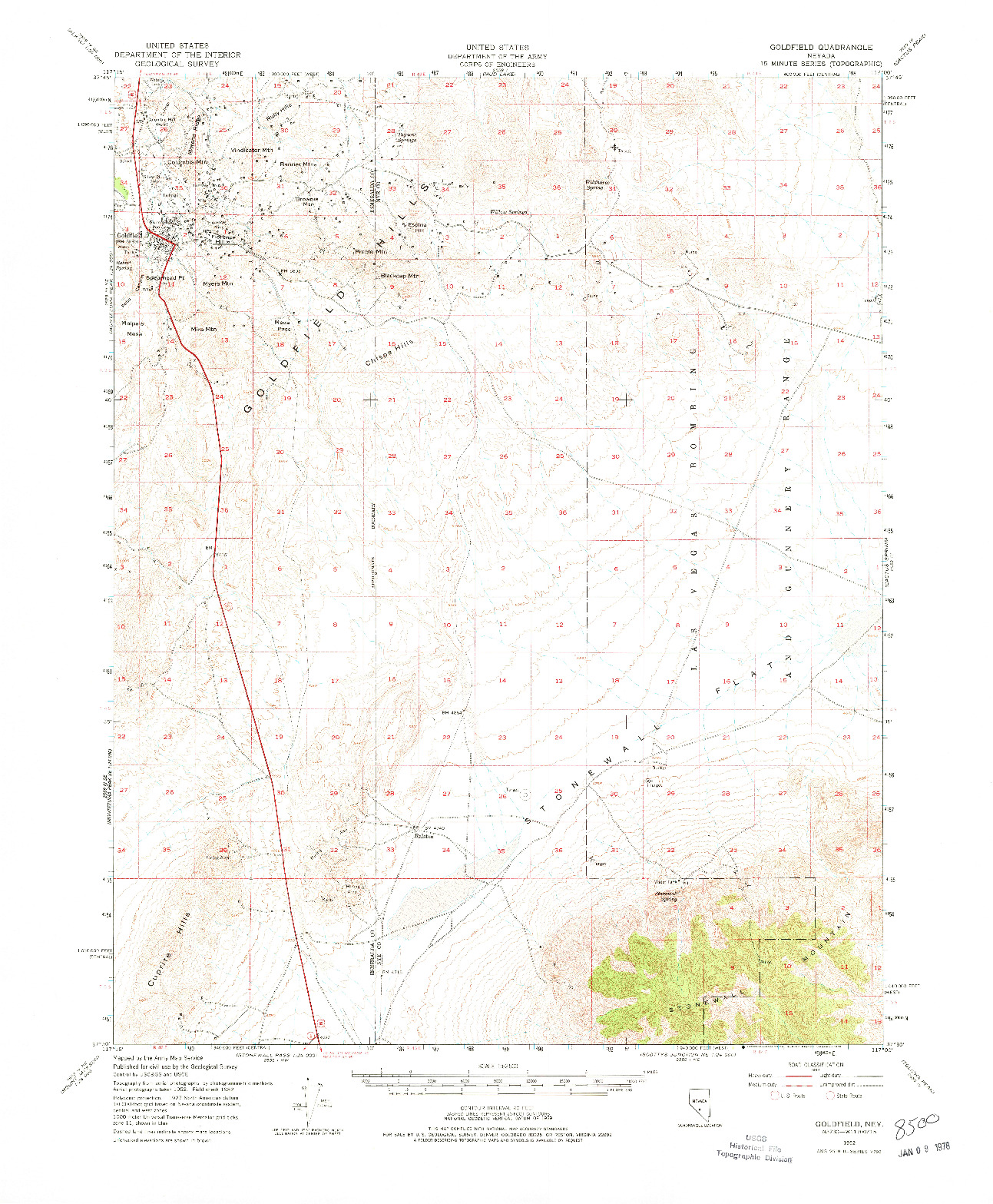 USGS 1:62500-SCALE QUADRANGLE FOR GOLDFIELD, NV 1952