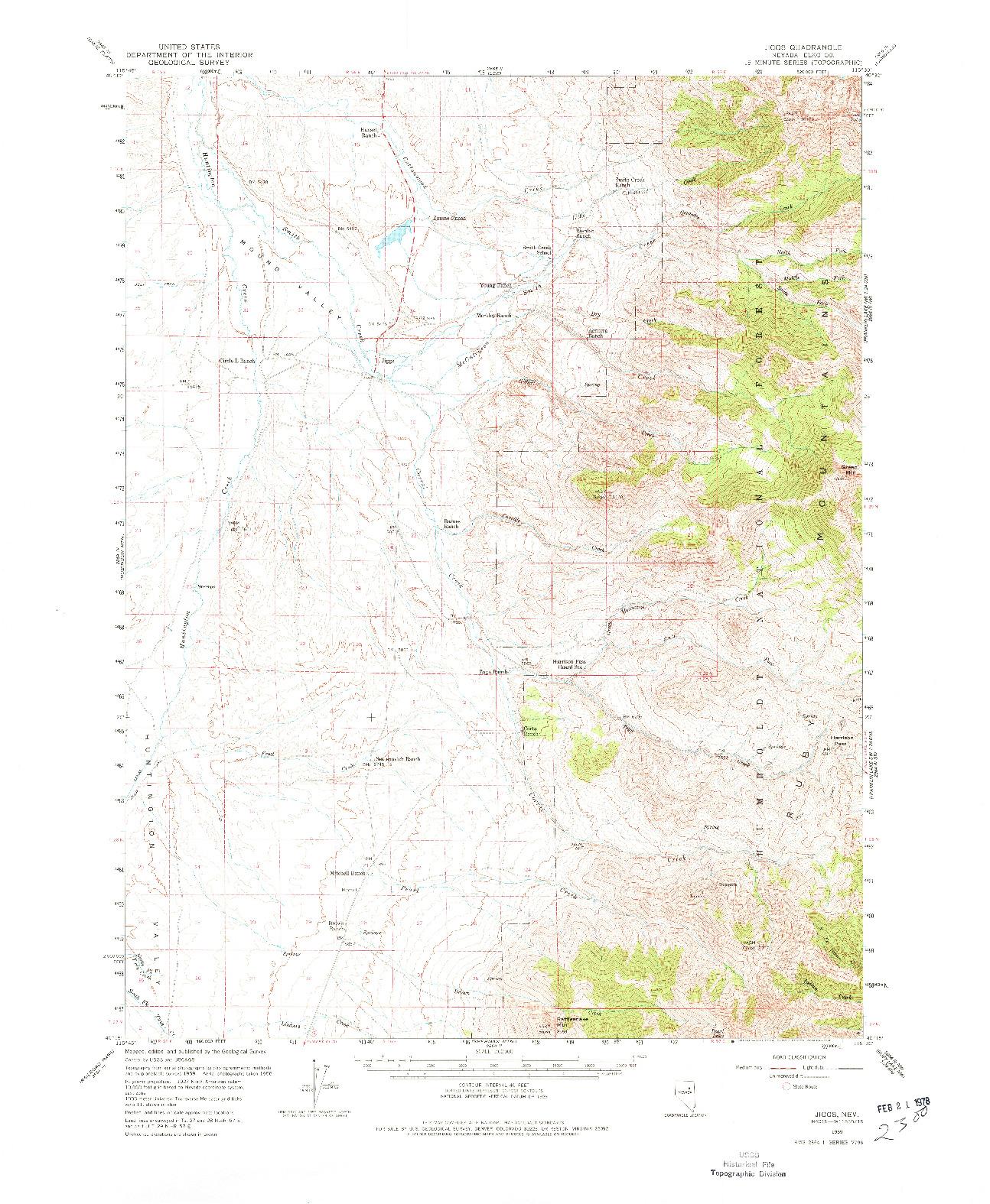 USGS 1:62500-SCALE QUADRANGLE FOR JIGGS, NV 1959