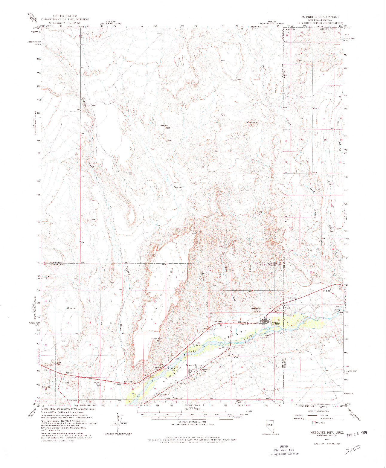 USGS 1:62500-SCALE QUADRANGLE FOR MESQUITE, NV 1957
