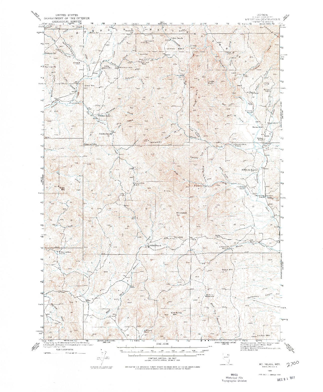 USGS 1:62500-SCALE QUADRANGLE FOR MT. VELMA, NV 1935