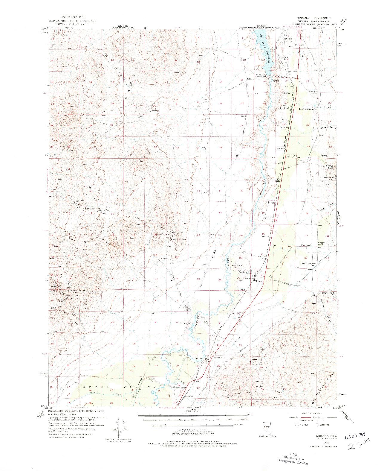 USGS 1:62500-SCALE QUADRANGLE FOR OREANA, NV 1956