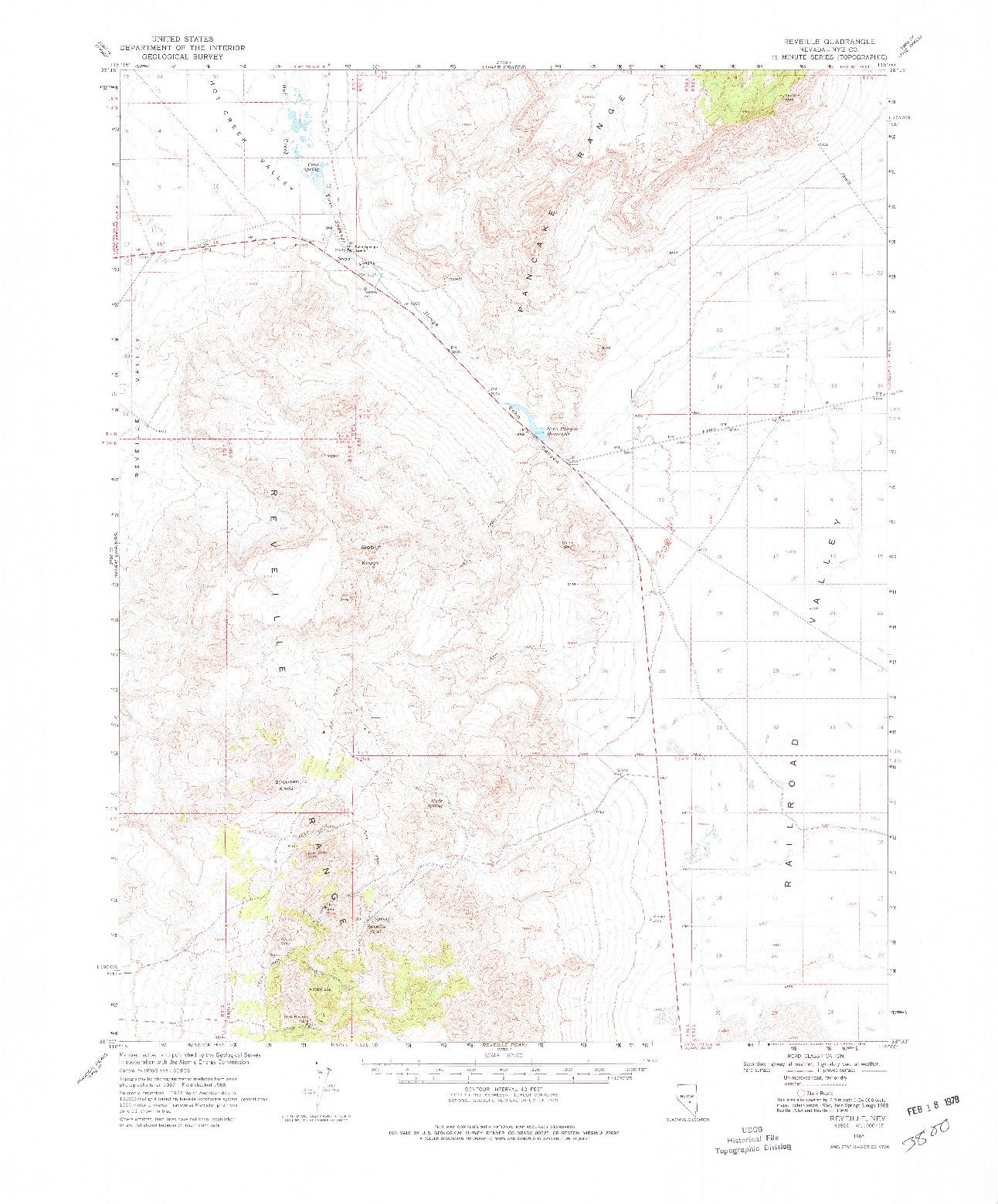 USGS 1:62500-SCALE QUADRANGLE FOR REVEILLE, NV 1968