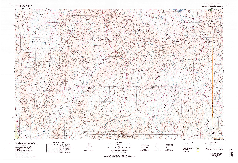 USGS 1:100000-SCALE QUADRANGLE FOR CLOVER MTS, NV 1978