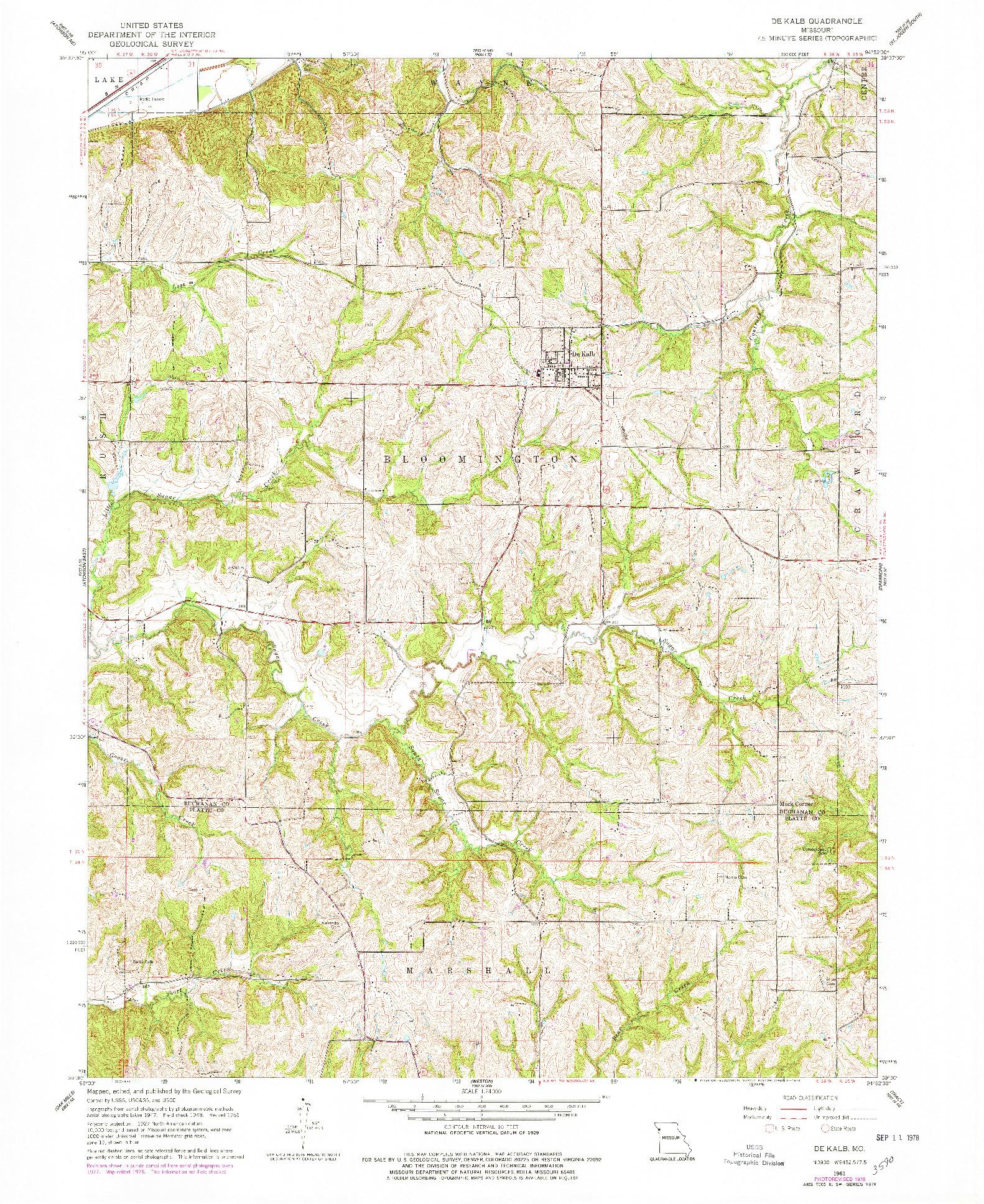 USGS 1:24000-SCALE QUADRANGLE FOR DE KALB, MO 1961