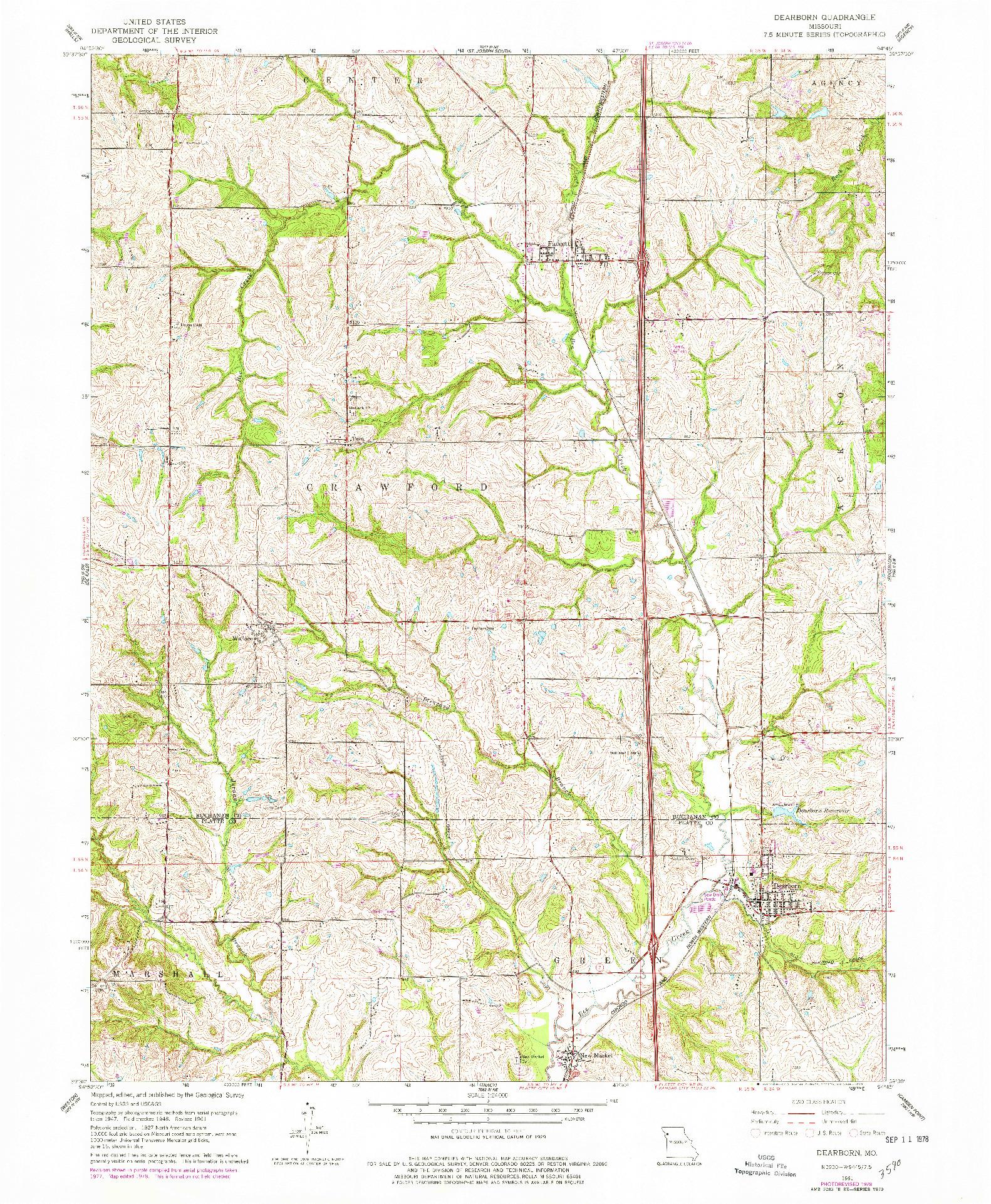 USGS 1:24000-SCALE QUADRANGLE FOR DEARBORN, MO 1961