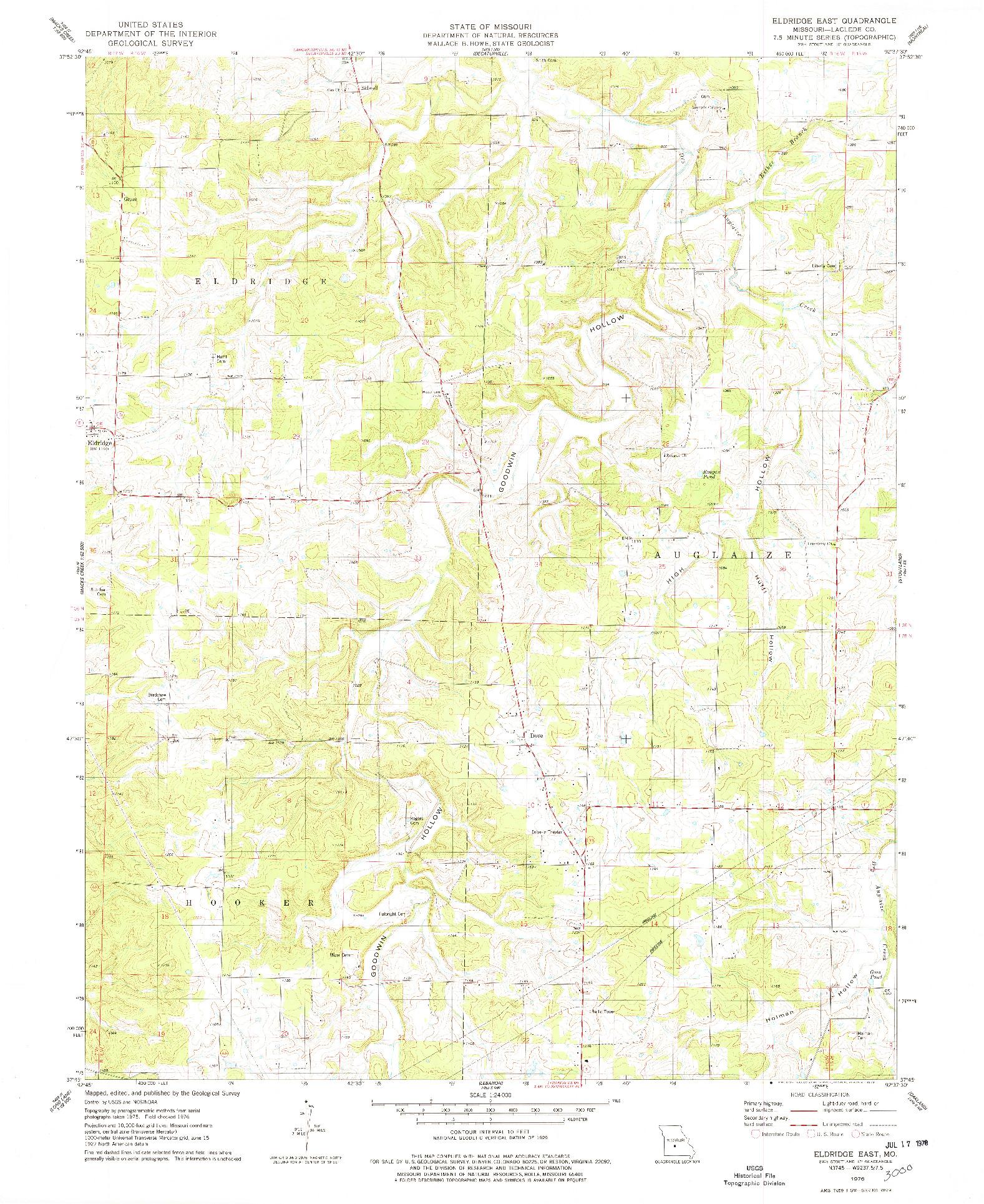 USGS 1:24000-SCALE QUADRANGLE FOR ELDRIDGE EAST, MO 1976