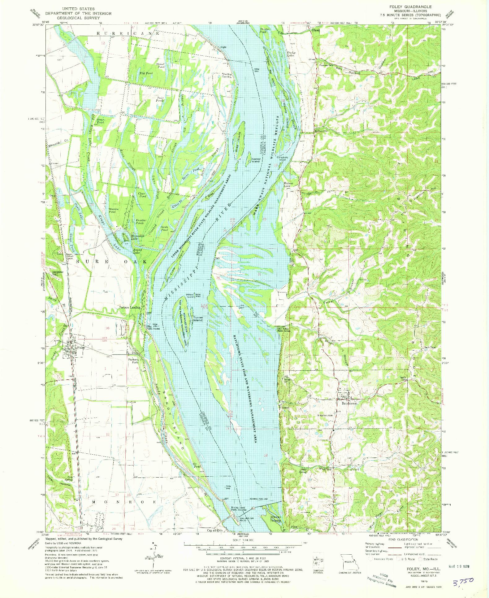 USGS 1:24000-SCALE QUADRANGLE FOR FOLEY, MO 1975