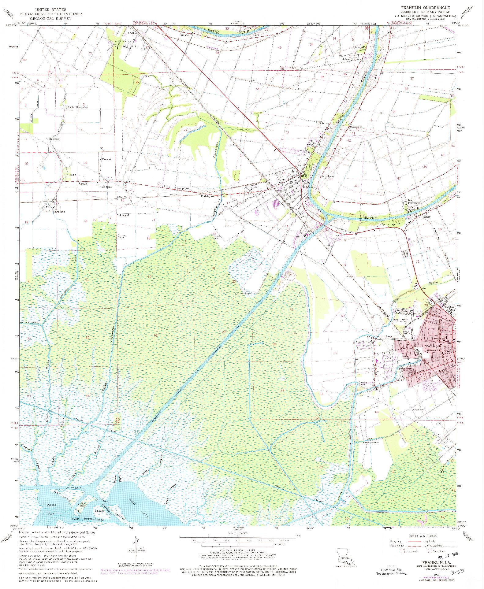 USGS 1:24000-SCALE QUADRANGLE FOR FRANKLIN, LA 1963
