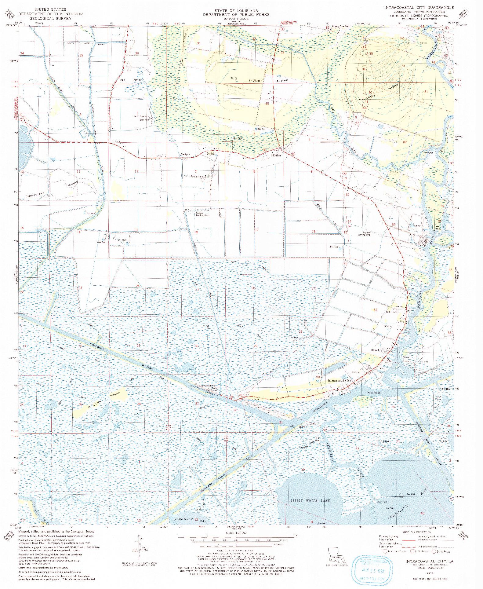 USGS 1:24000-SCALE QUADRANGLE FOR INTRACOASTAL CITY, LA 1975