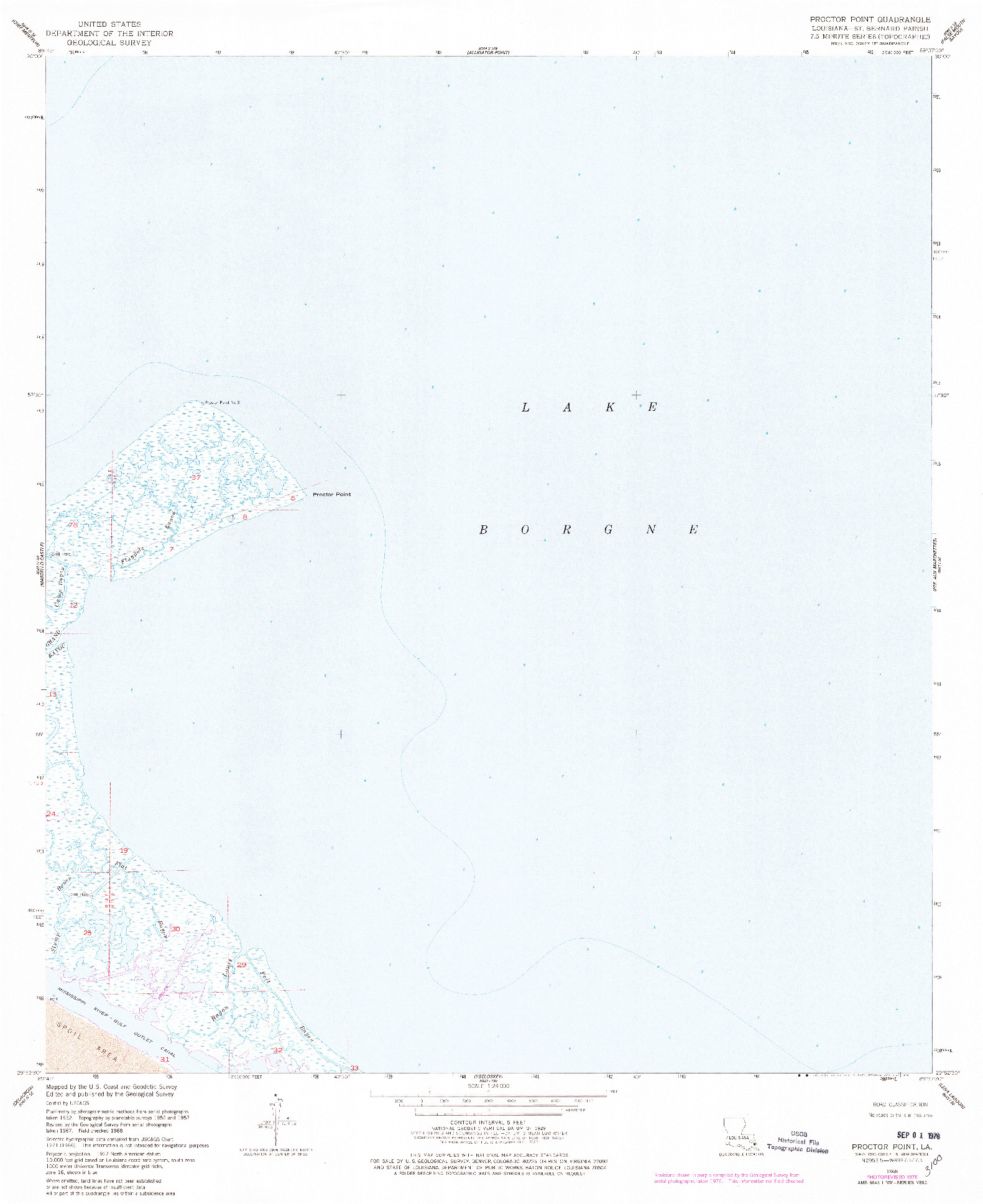 USGS 1:24000-SCALE QUADRANGLE FOR PROCTOR POINT, LA 1968