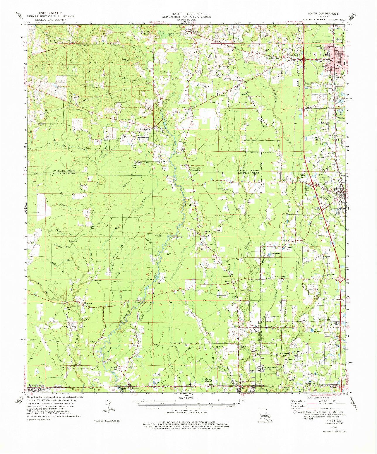 USGS 1:62500-SCALE QUADRANGLE FOR AMITE, LA 1974