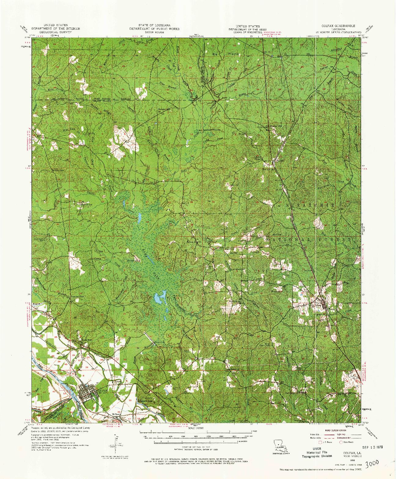 USGS 1:62500-SCALE QUADRANGLE FOR COLFAX, LA 1956