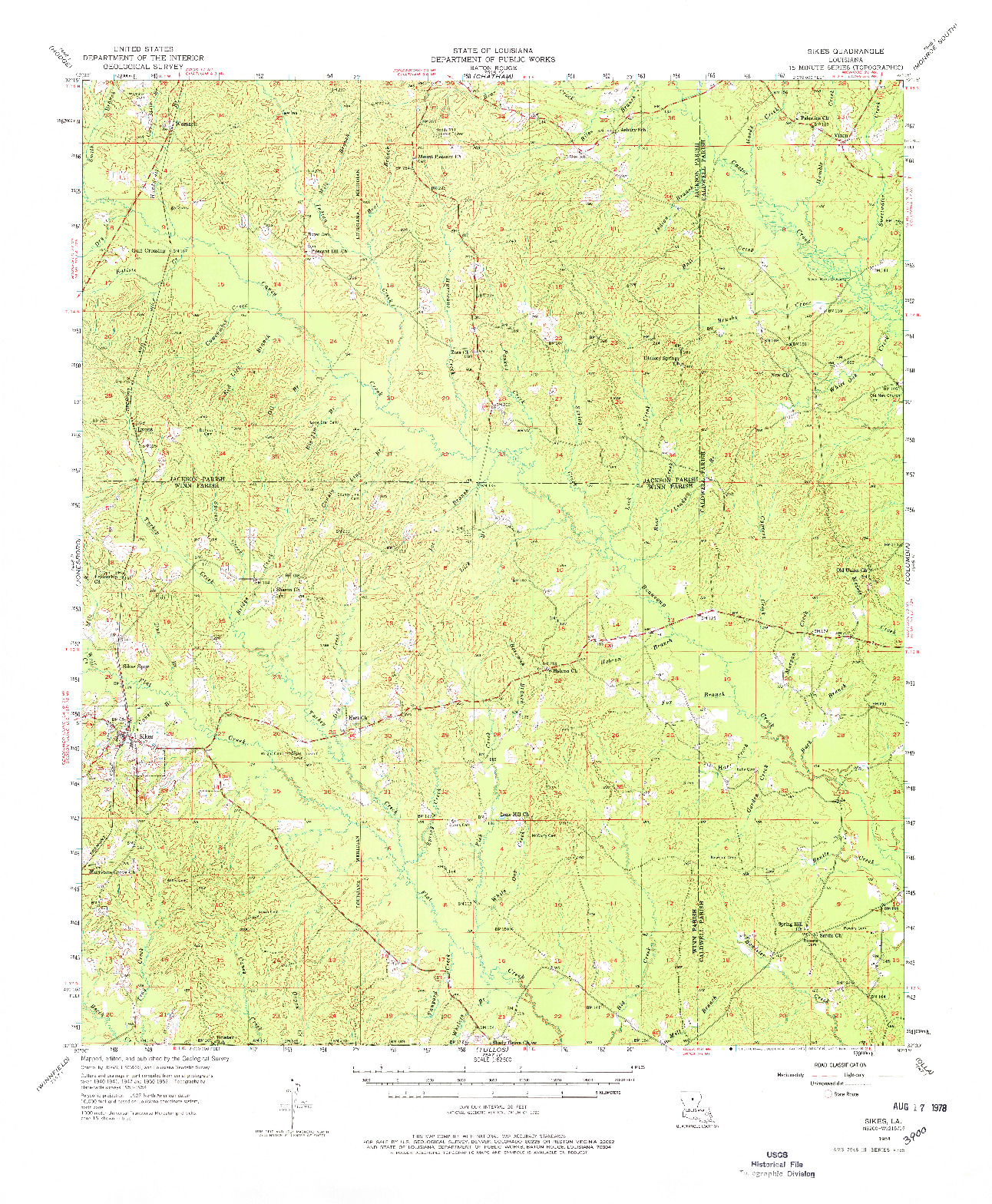 USGS 1:62500-SCALE QUADRANGLE FOR SIKES, LA 1954