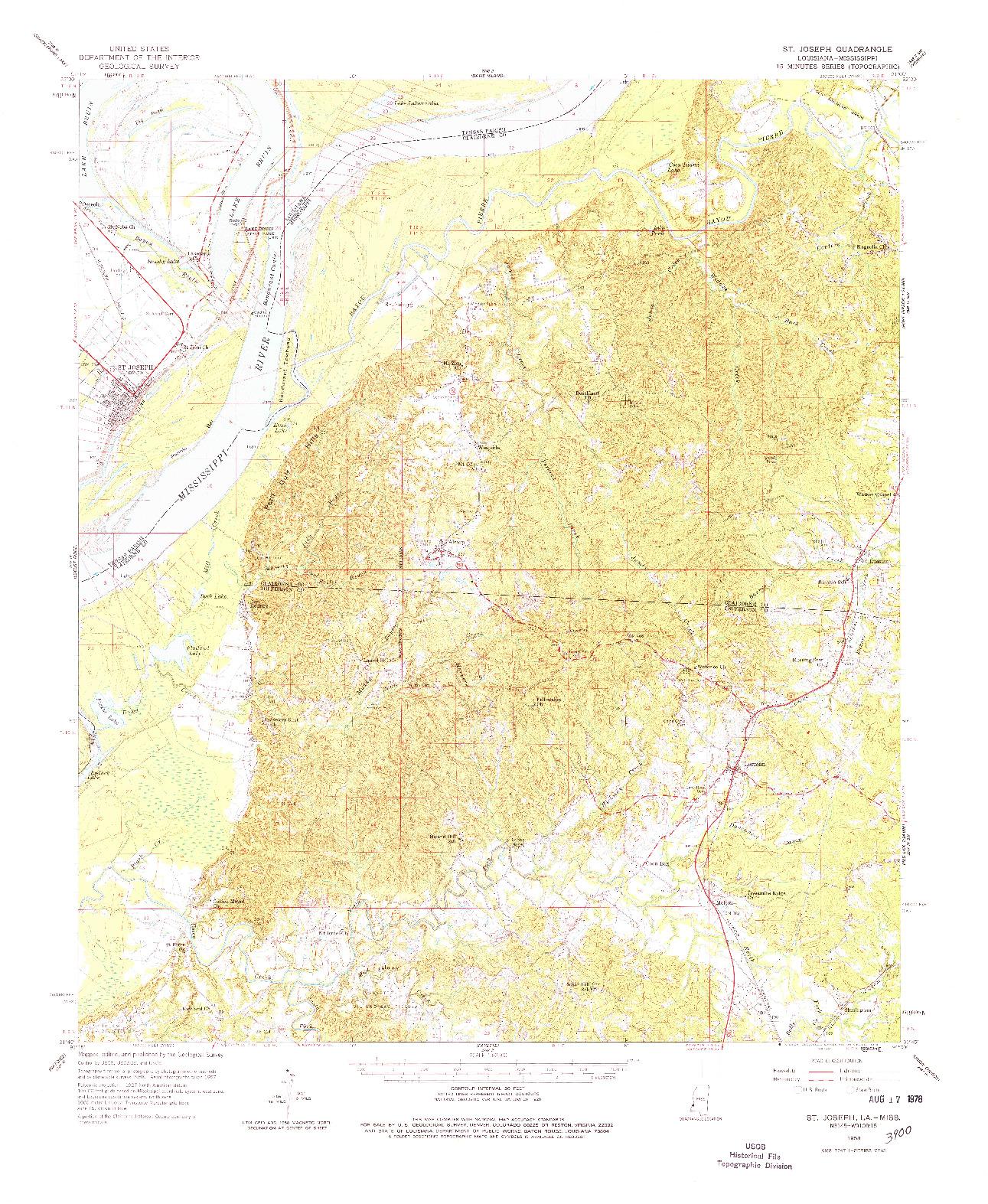 USGS 1:62500-SCALE QUADRANGLE FOR ST. JOSEPH, LA 1958