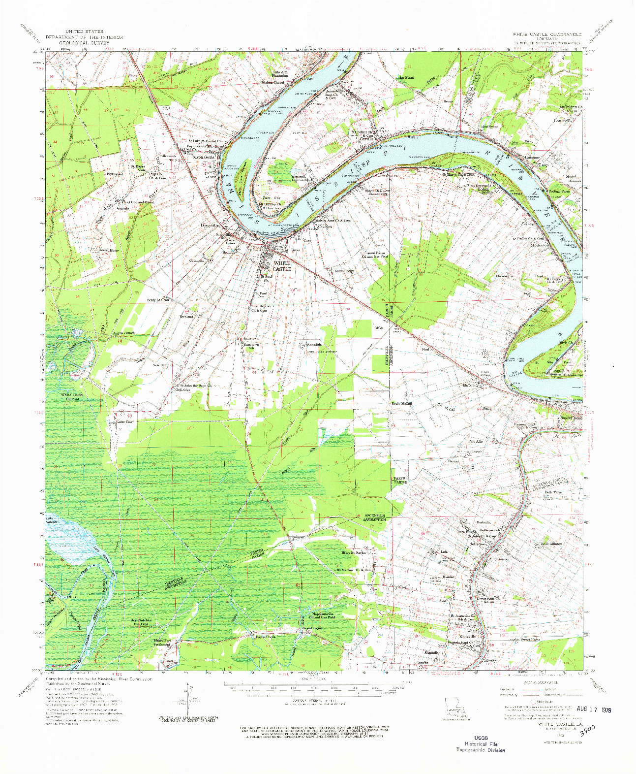 USGS 1:62500-SCALE QUADRANGLE FOR WHITE CASTLE, LA 1963