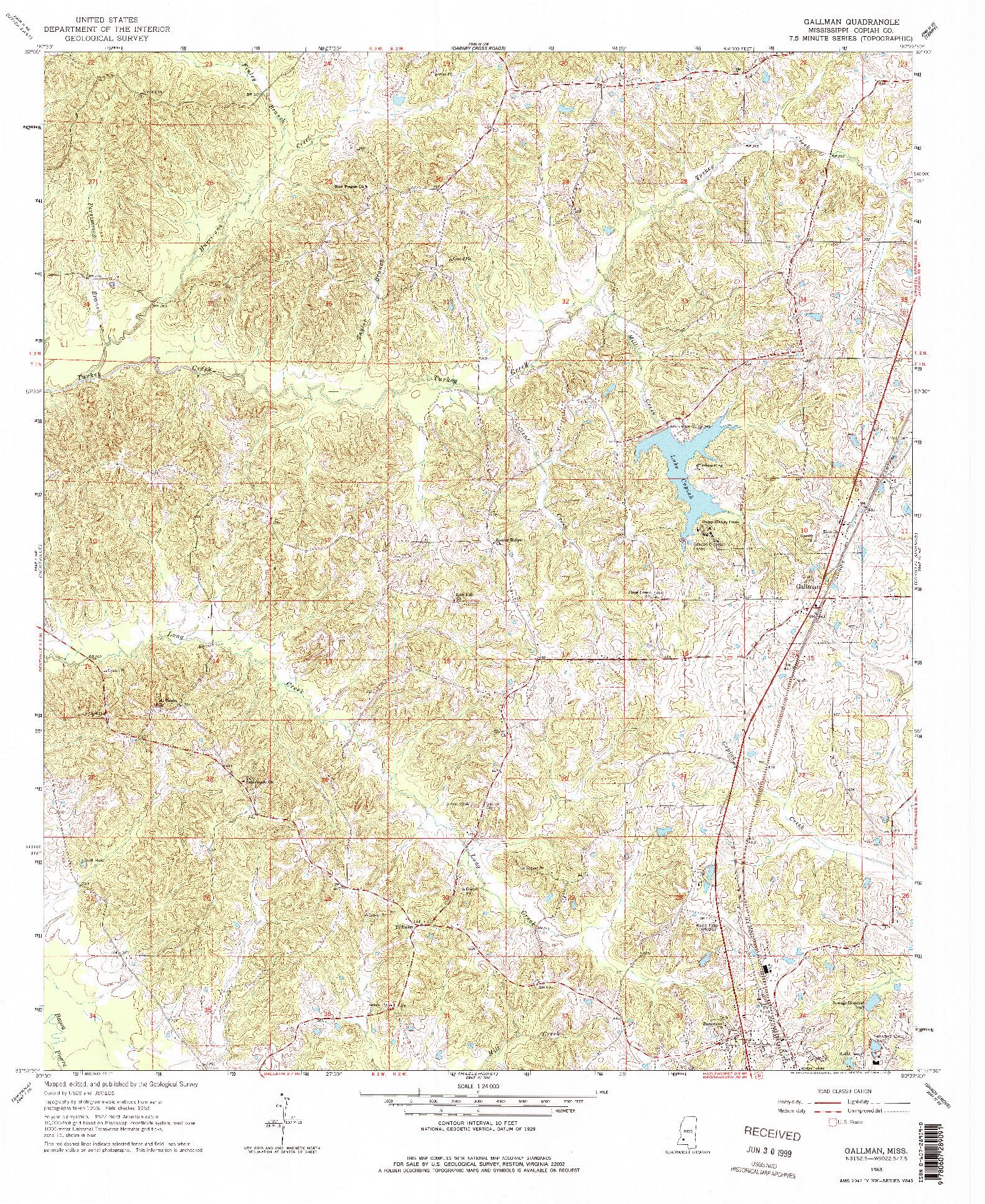 USGS 1:24000-SCALE QUADRANGLE FOR GALLMAN, MS 1963