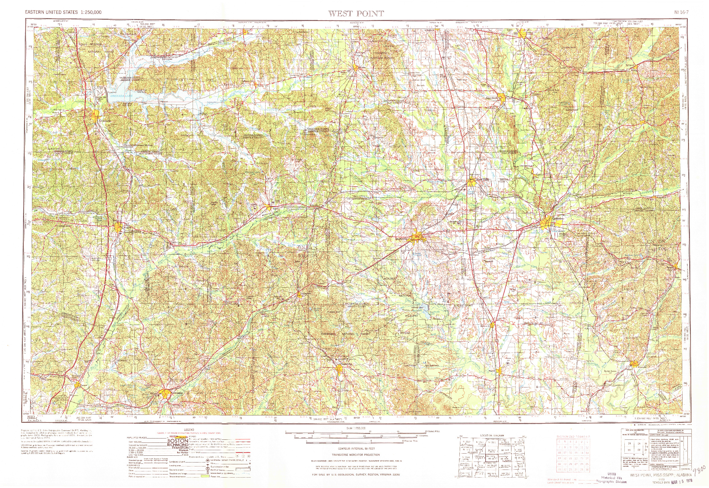 USGS 1:250000-SCALE QUADRANGLE FOR WEST POINT, MS 1953