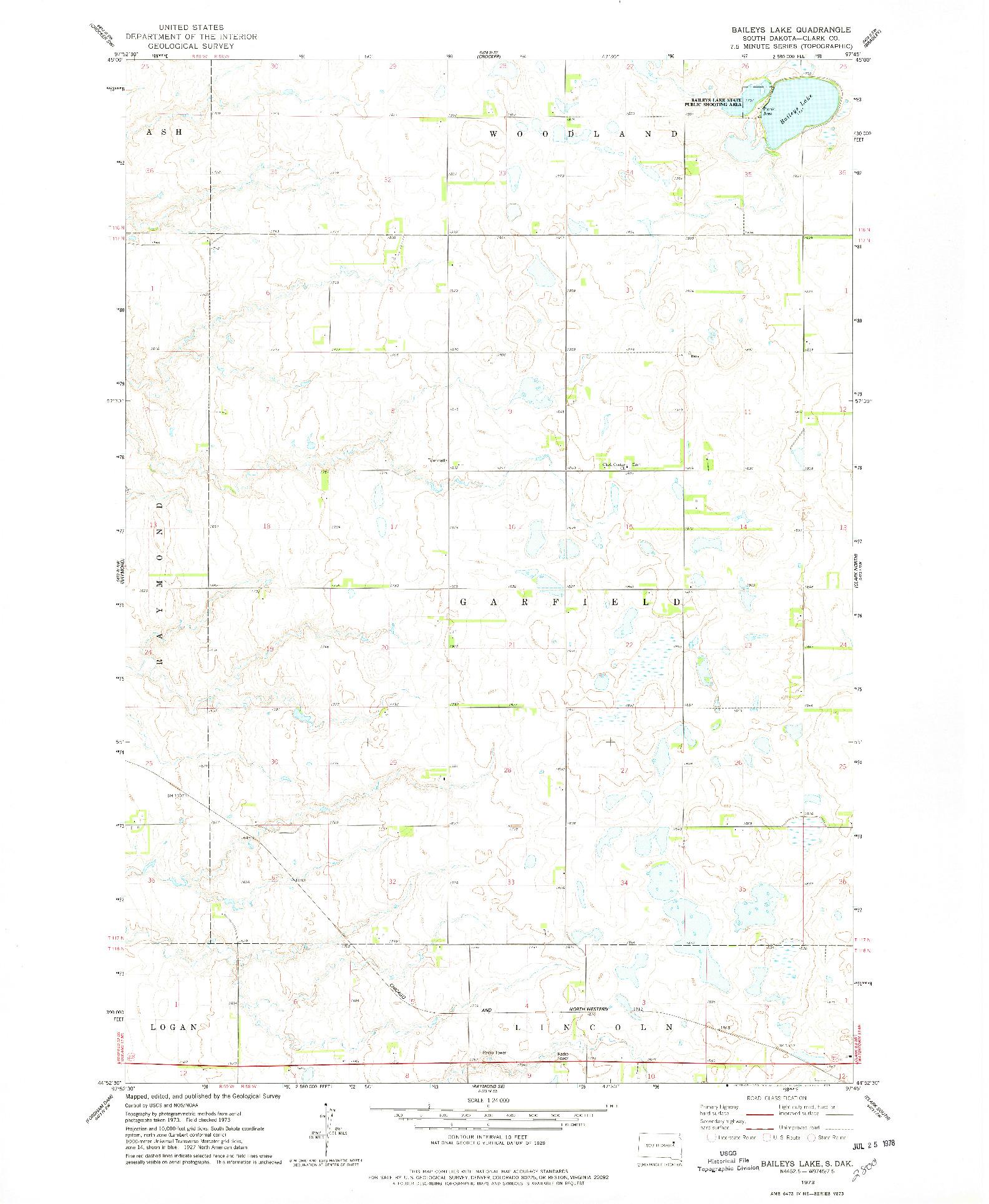USGS 1:24000-SCALE QUADRANGLE FOR BAILEYS LAKE, SD 1973