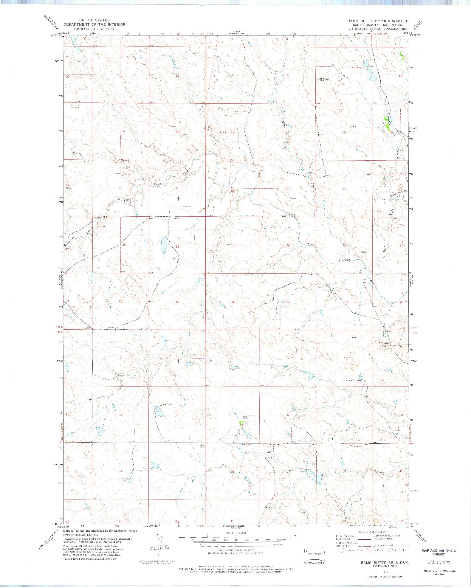USGS 1:24000-SCALE QUADRANGLE FOR BAMS BUTTE SE, SD 1978