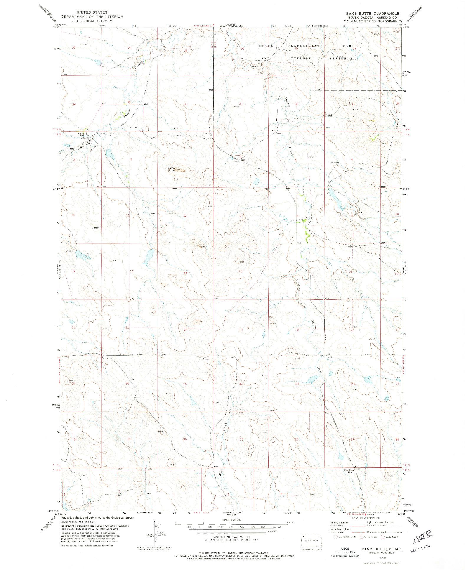 USGS 1:24000-SCALE QUADRANGLE FOR BAMS BUTTE, SD 1978