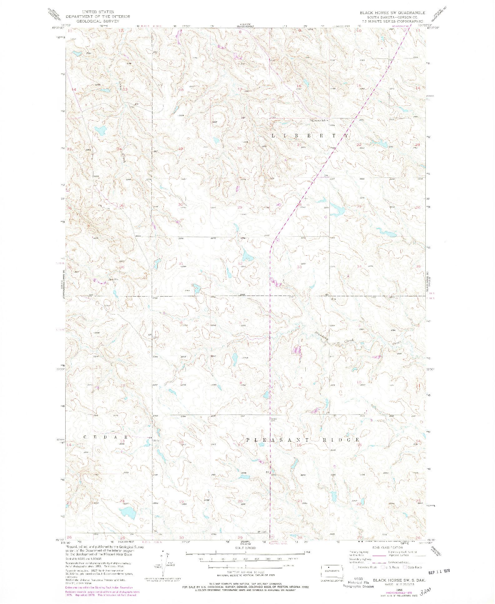 USGS 1:24000-SCALE QUADRANGLE FOR BLACK HORSE SW, SD 1956