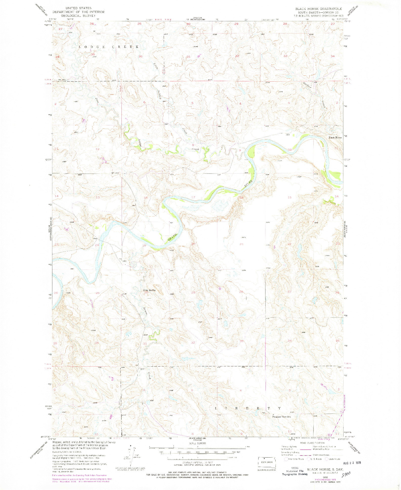 USGS 1:24000-SCALE QUADRANGLE FOR BLACK HORSE, SD 1956