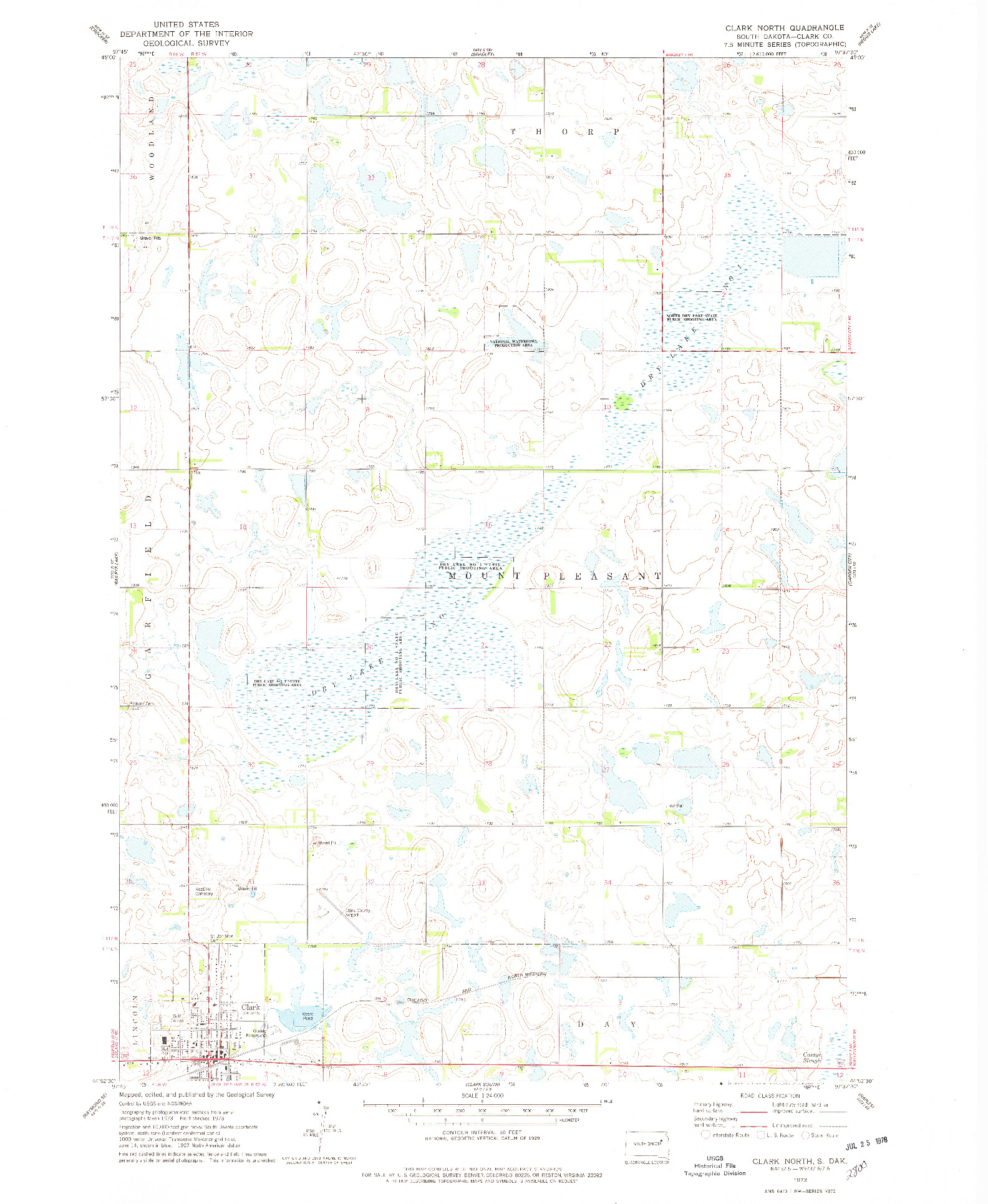 USGS 1:24000-SCALE QUADRANGLE FOR CLARK NORTH, SD 1973