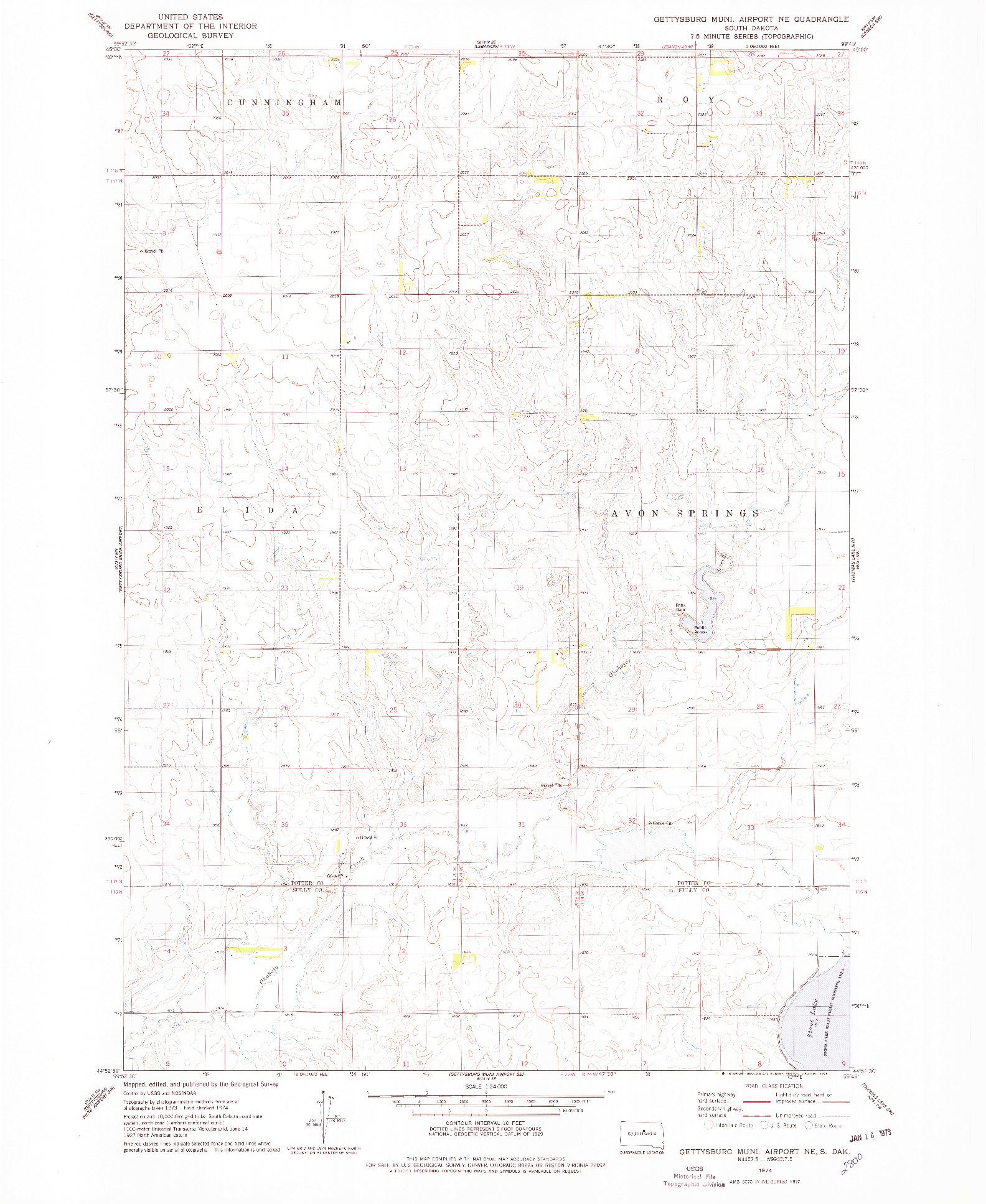 USGS 1:24000-SCALE QUADRANGLE FOR GETTYSBURG MUNI. AIRPORT NE, SD 1974