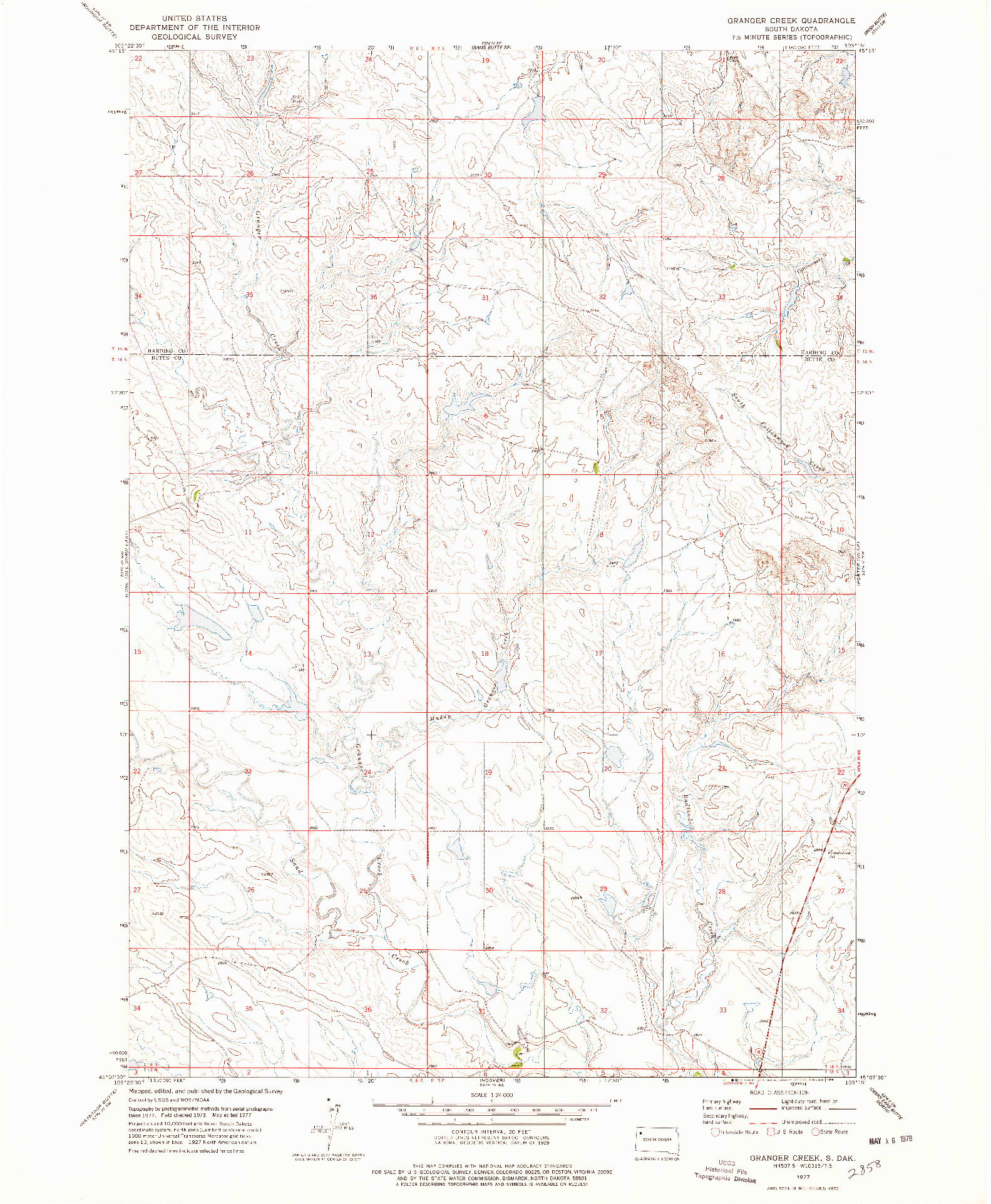 USGS 1:24000-SCALE QUADRANGLE FOR GRANGER CREEK, SD 1977