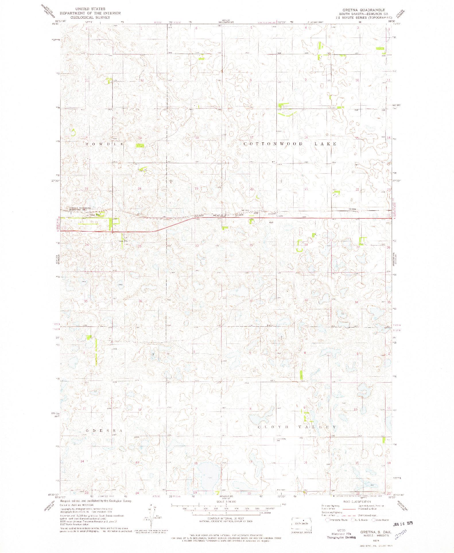 USGS 1:24000-SCALE QUADRANGLE FOR GRETNA, SD 1974