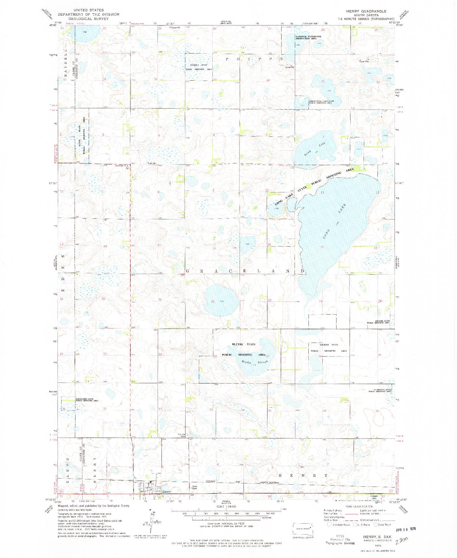 USGS 1:24000-SCALE QUADRANGLE FOR HENRY, SD 1973