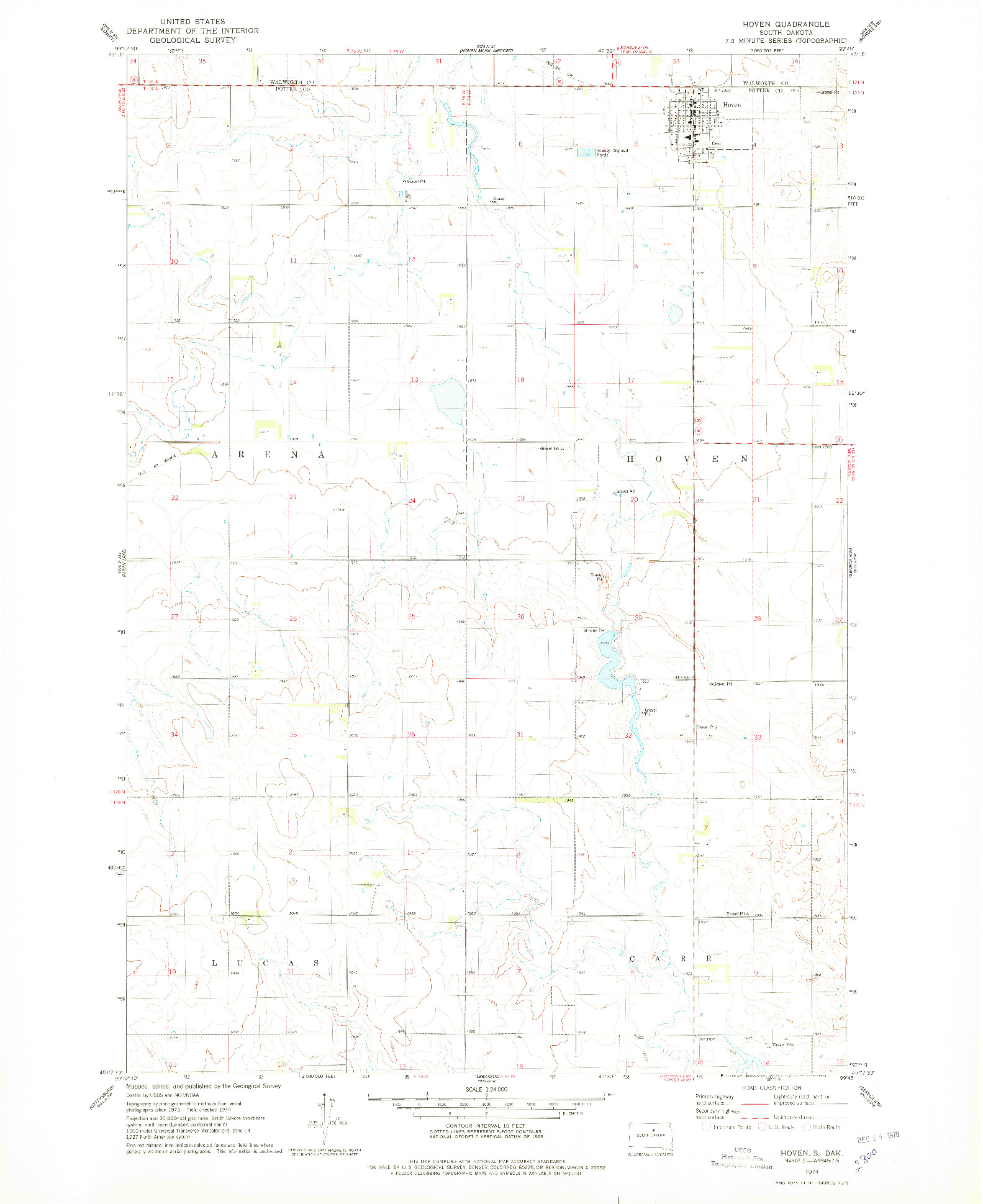 USGS 1:24000-SCALE QUADRANGLE FOR HOVEN, SD 1974