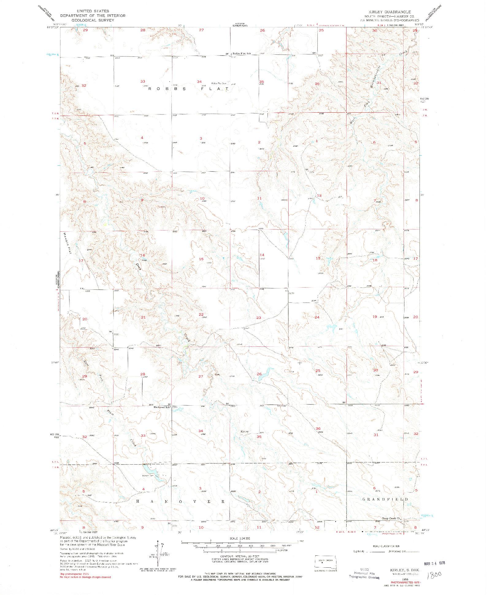USGS 1:24000-SCALE QUADRANGLE FOR KIRLEY, SD 1956