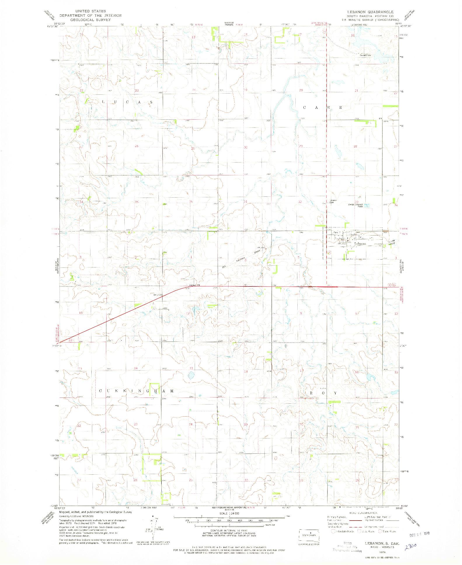 USGS 1:24000-SCALE QUADRANGLE FOR LEBANON, SD 1978