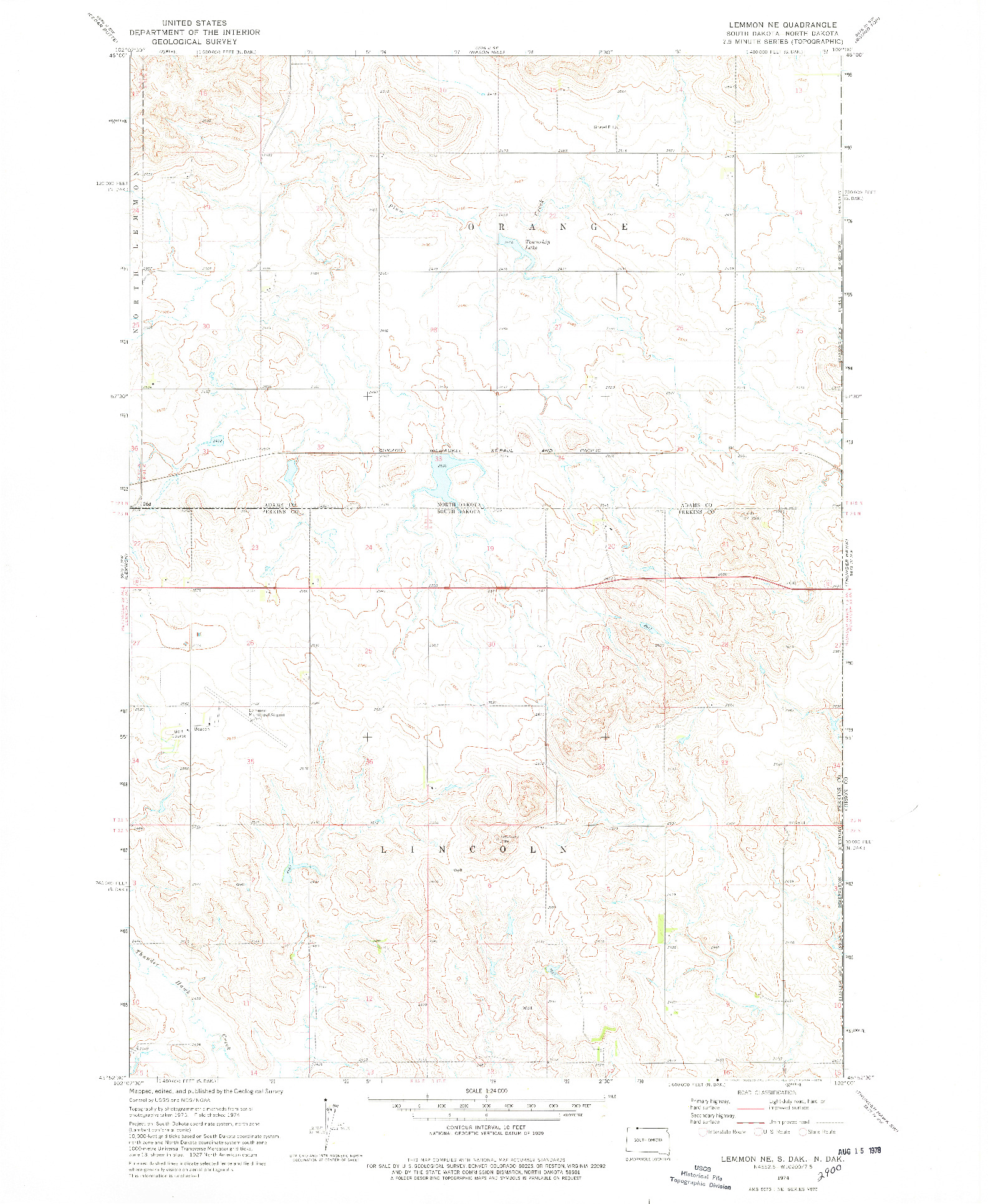 USGS 1:24000-SCALE QUADRANGLE FOR LEMMON NE, SD 1974