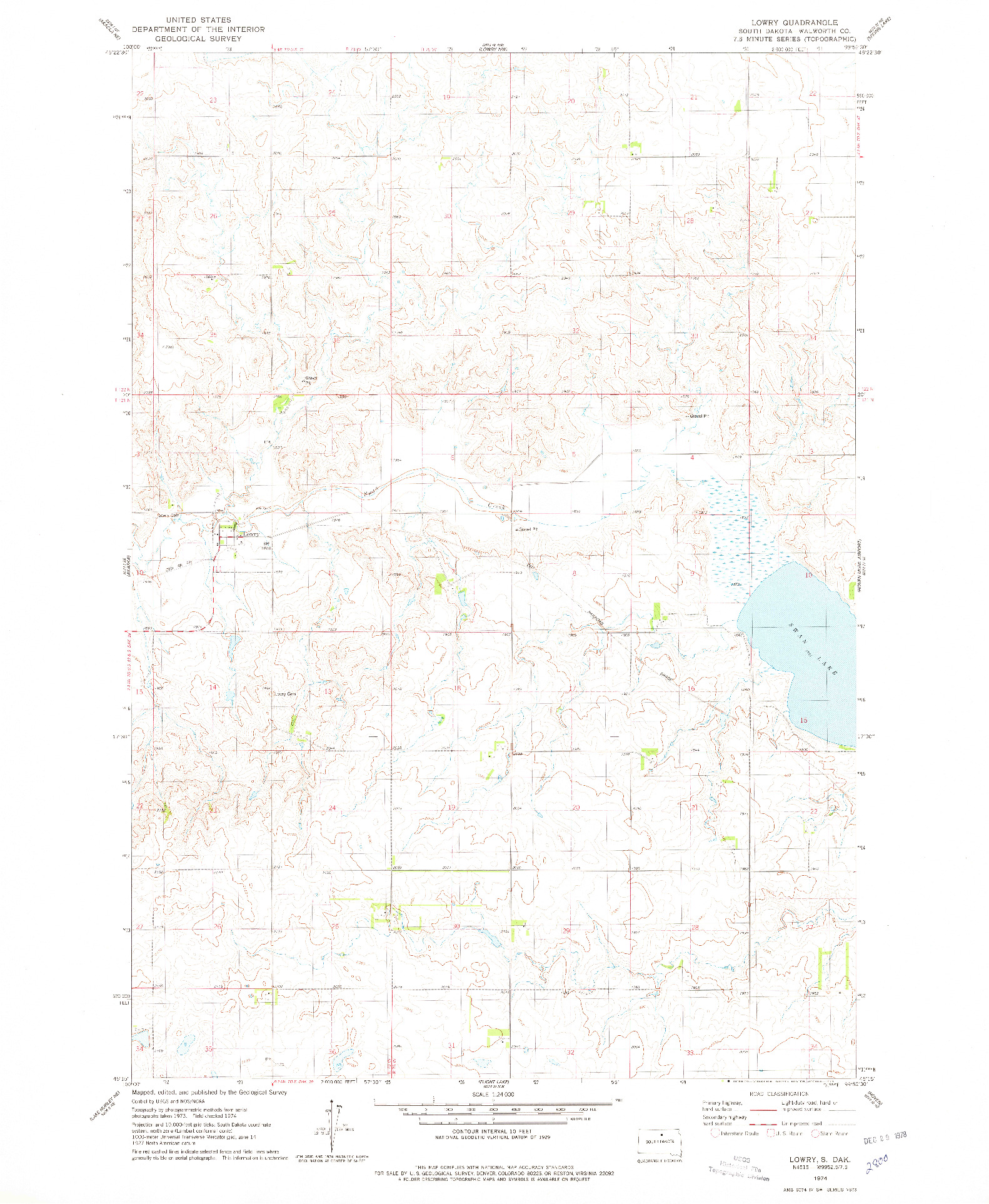 USGS 1:24000-SCALE QUADRANGLE FOR LOWRY, SD 1974