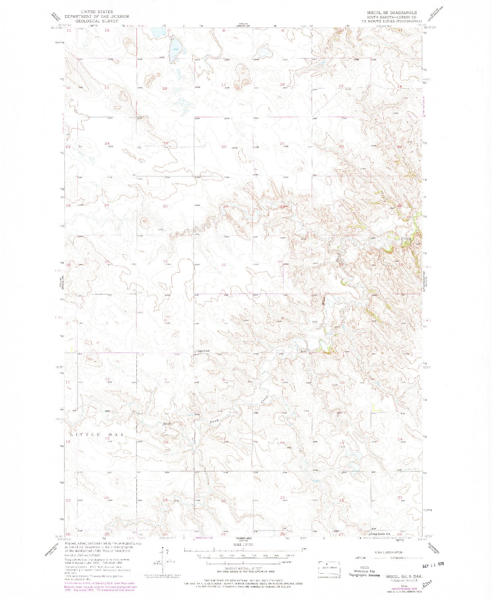 USGS 1:24000-SCALE QUADRANGLE FOR MISCOL SE, SD 1956