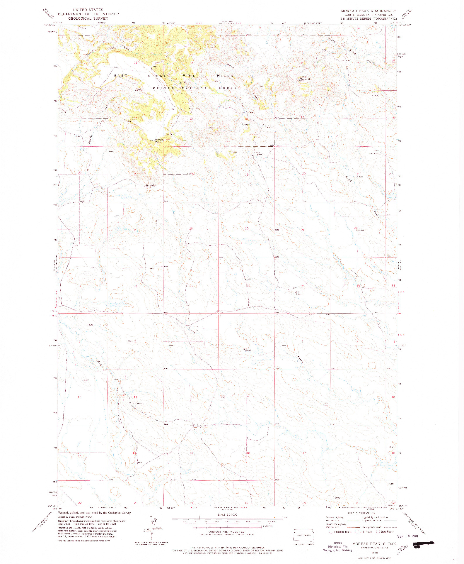 USGS 1:24000-SCALE QUADRANGLE FOR MOREAU PEAK, SD 1978