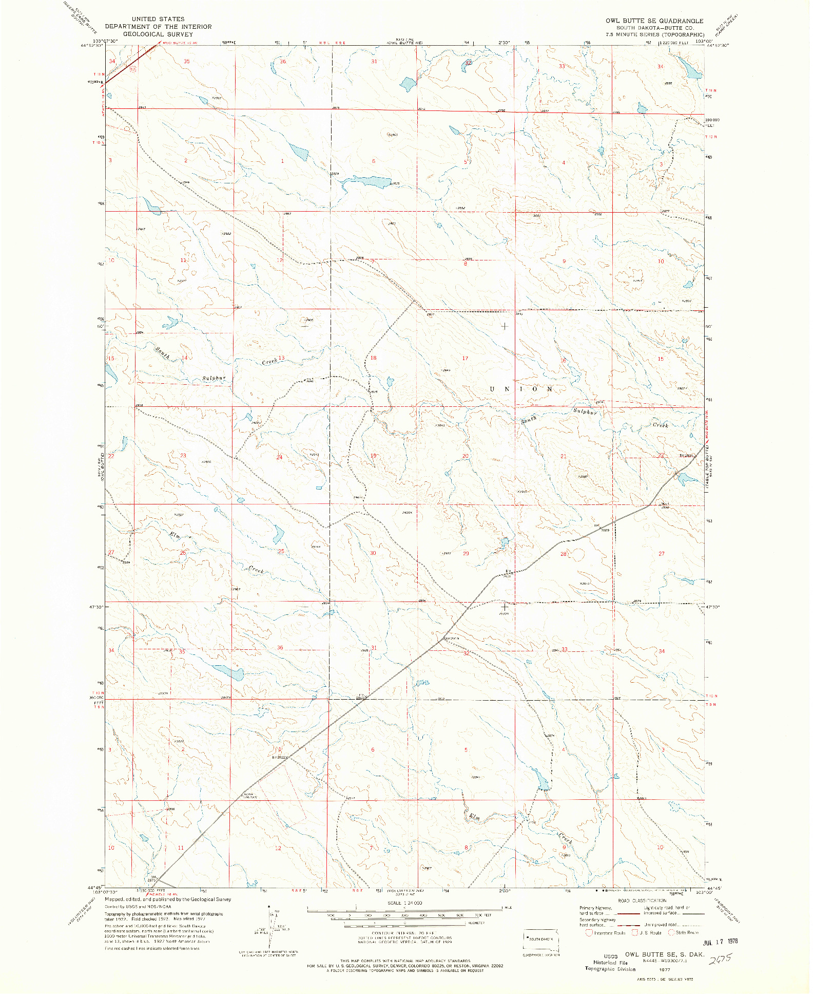 USGS 1:24000-SCALE QUADRANGLE FOR OWL BUTTE SE, SD 1977