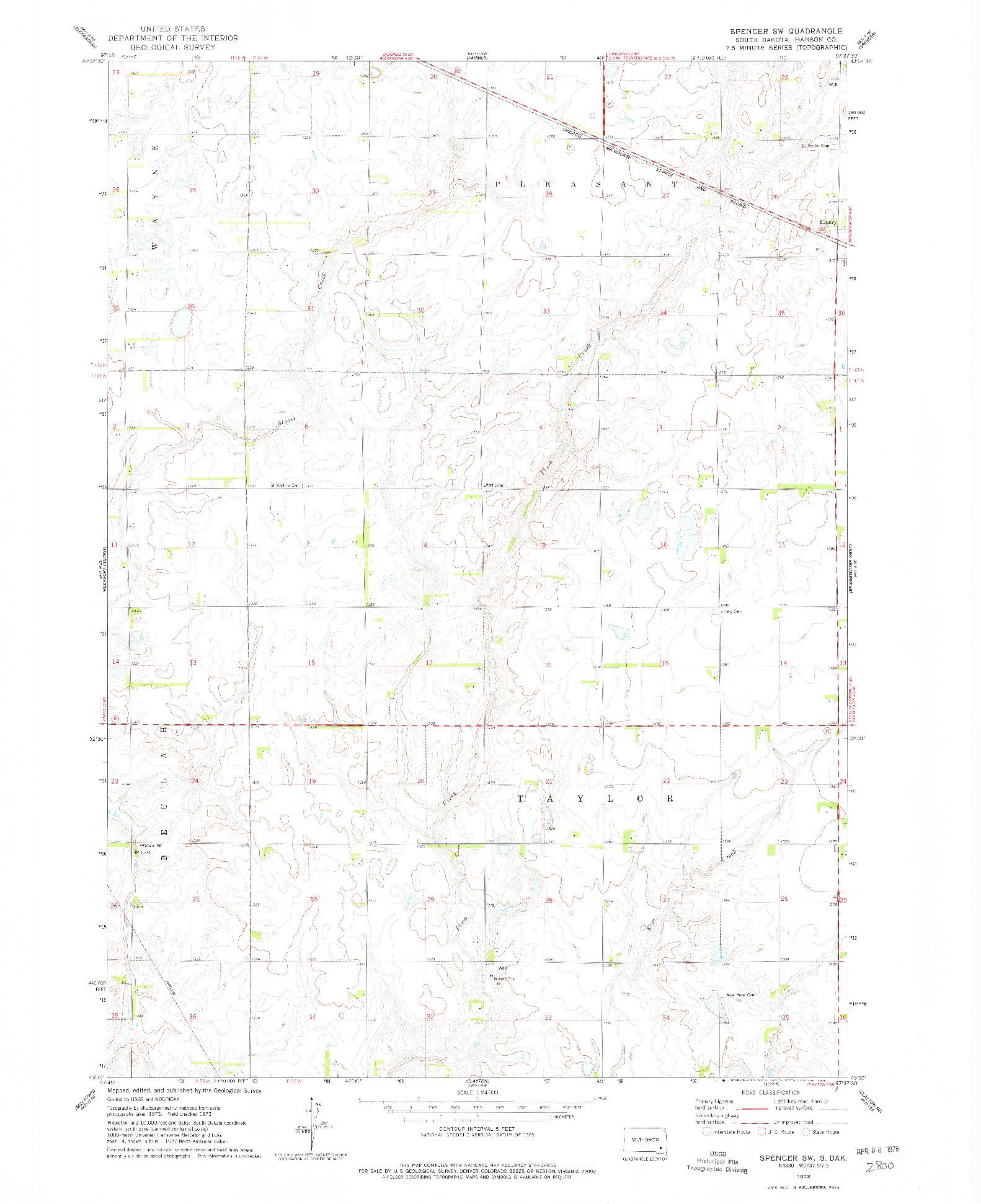 USGS 1:24000-SCALE QUADRANGLE FOR SPENCER SW, SD 1973