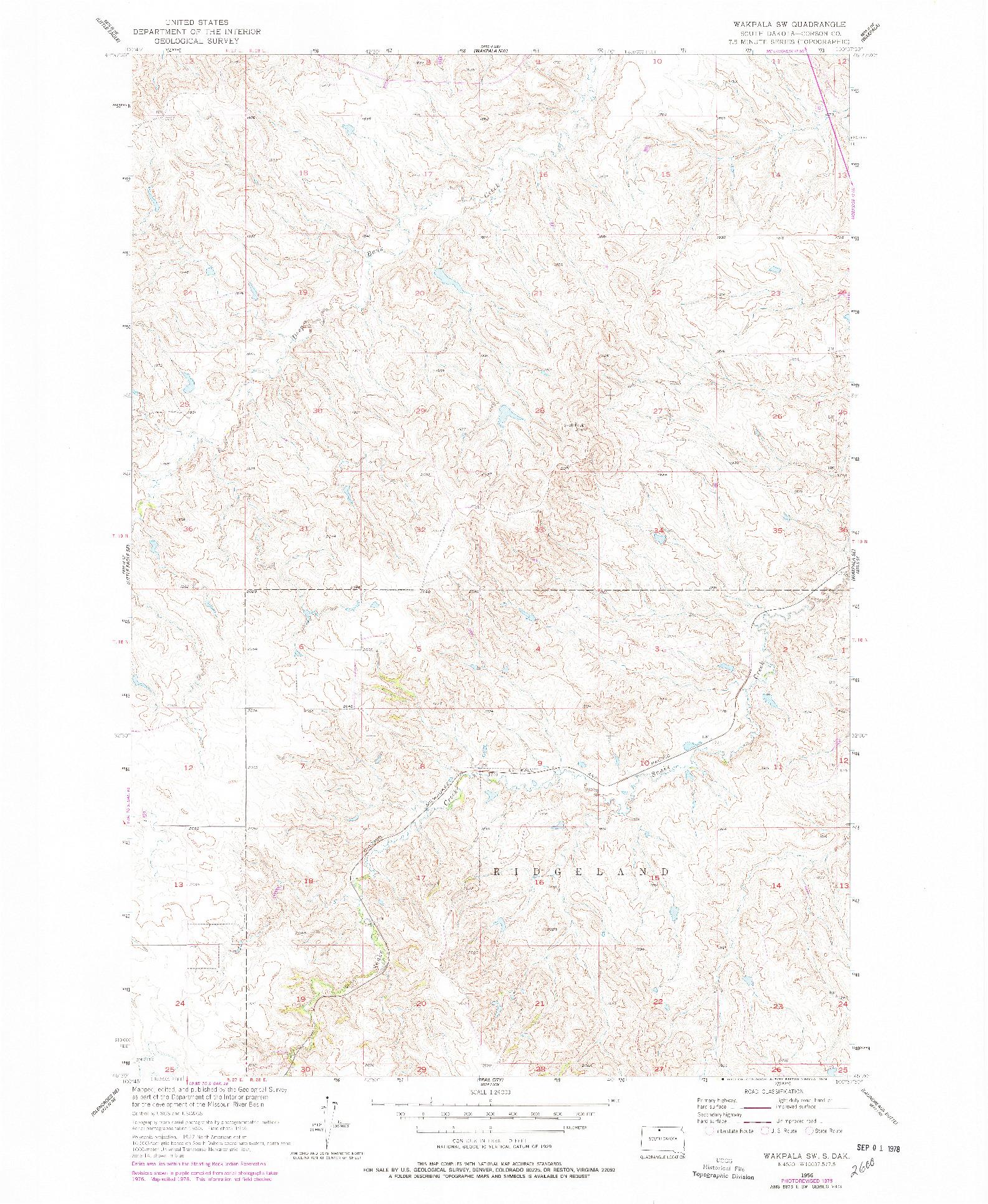 USGS 1:24000-SCALE QUADRANGLE FOR WAKPALA SW, SD 1956
